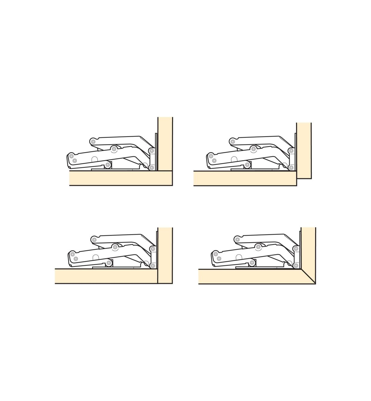 Diagrams of hinges used four different ways