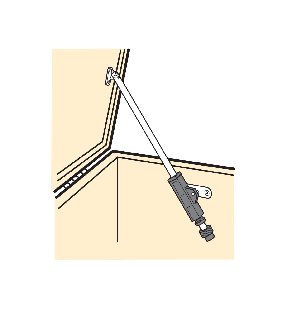 Illustration of Flap Stay installed on a chest, holding the lid open