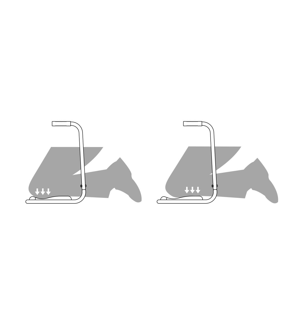 Two illustrations show how a person shifting their weight on the Garden Kneeler transfers weight from knees to shins