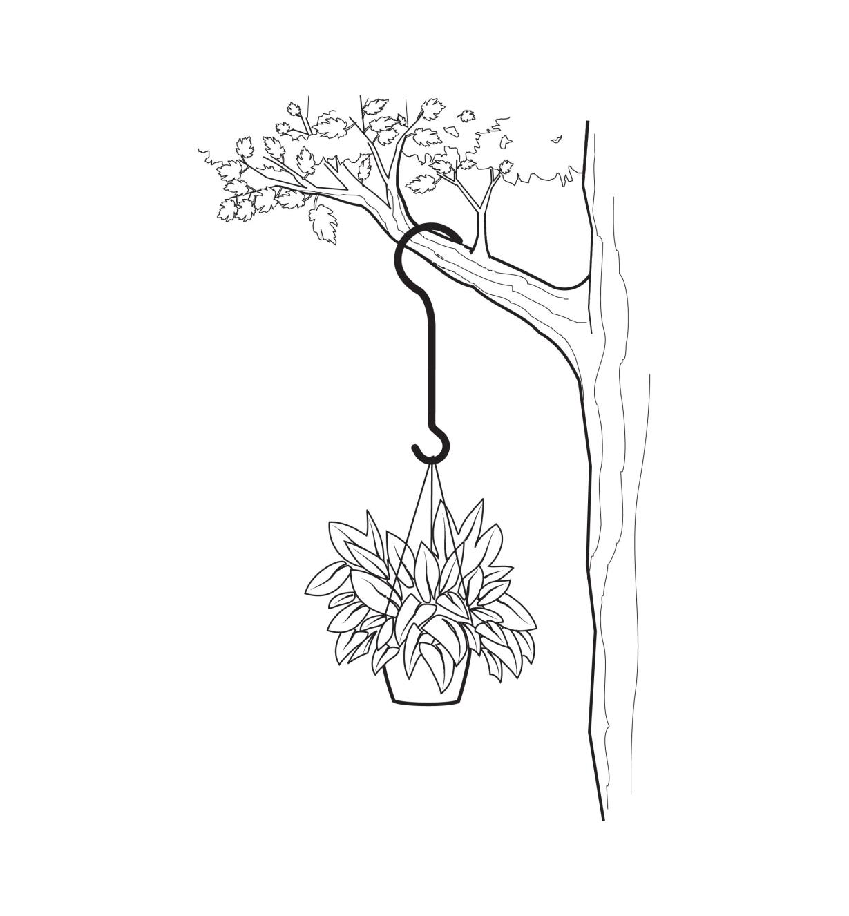 Illustration of an all-purpose garden hook hanging a planter from a tree
