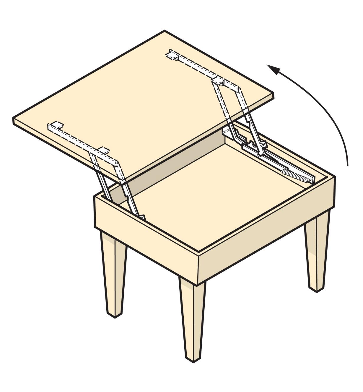 Illustration of a pop-up table made with Parallock brackets