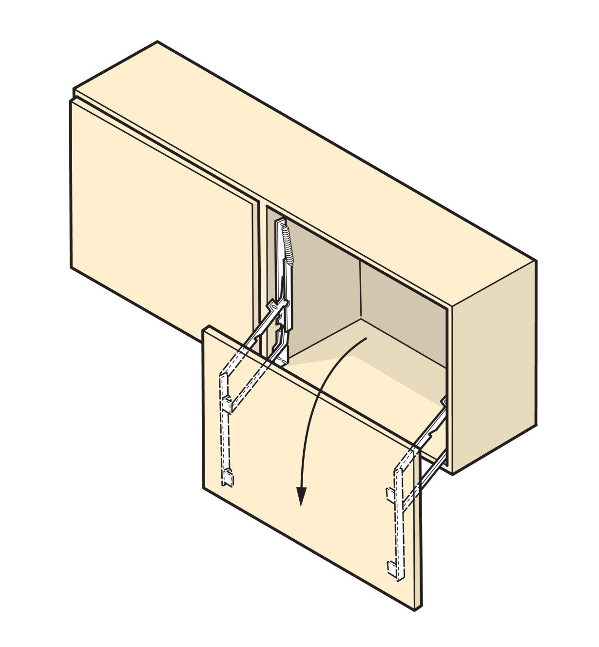 Illustration of cabinet door that swings down, made with Parallock brackets