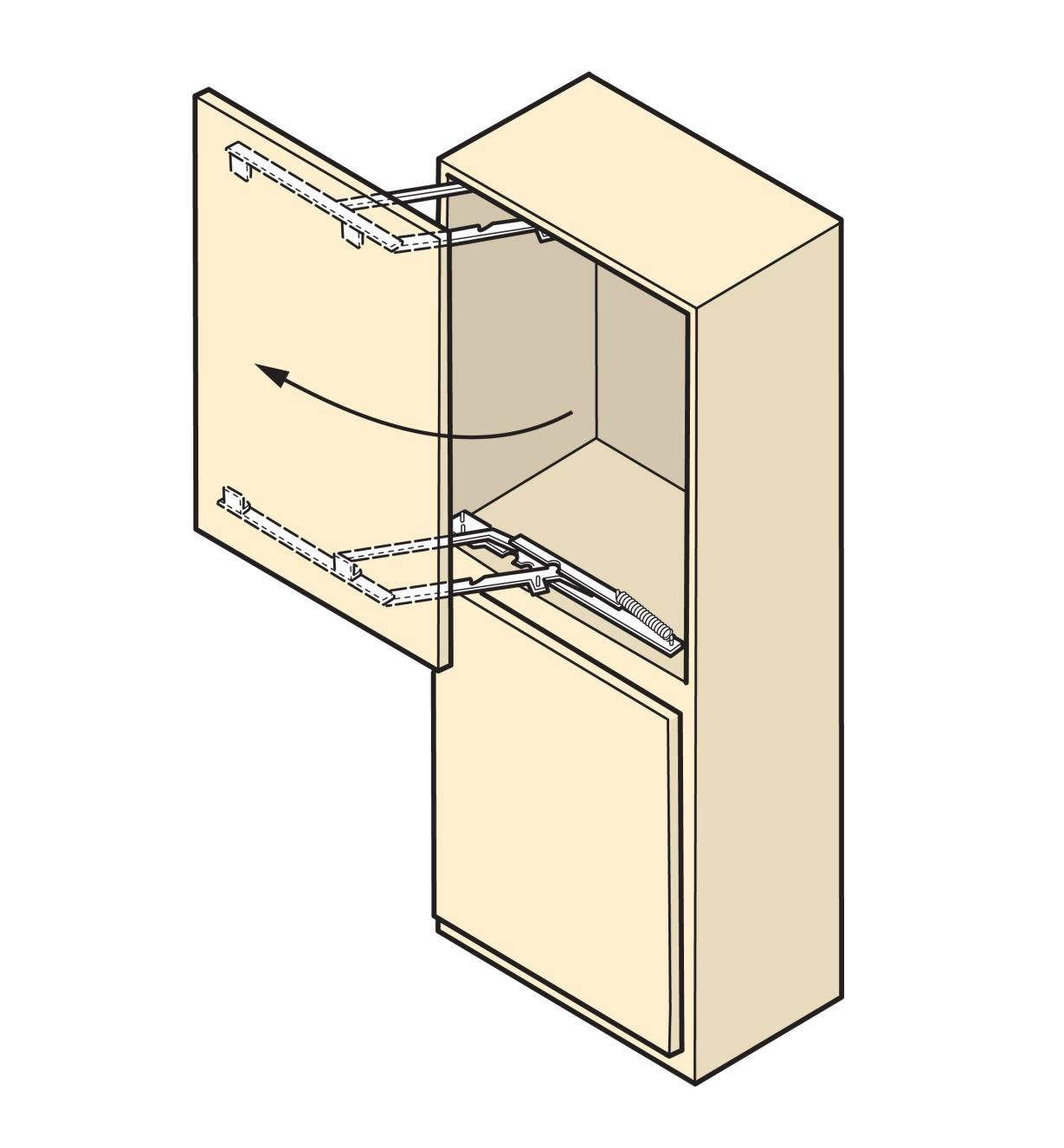 Illustration of a cabinet door that swings sideways, made with Parallock brackets