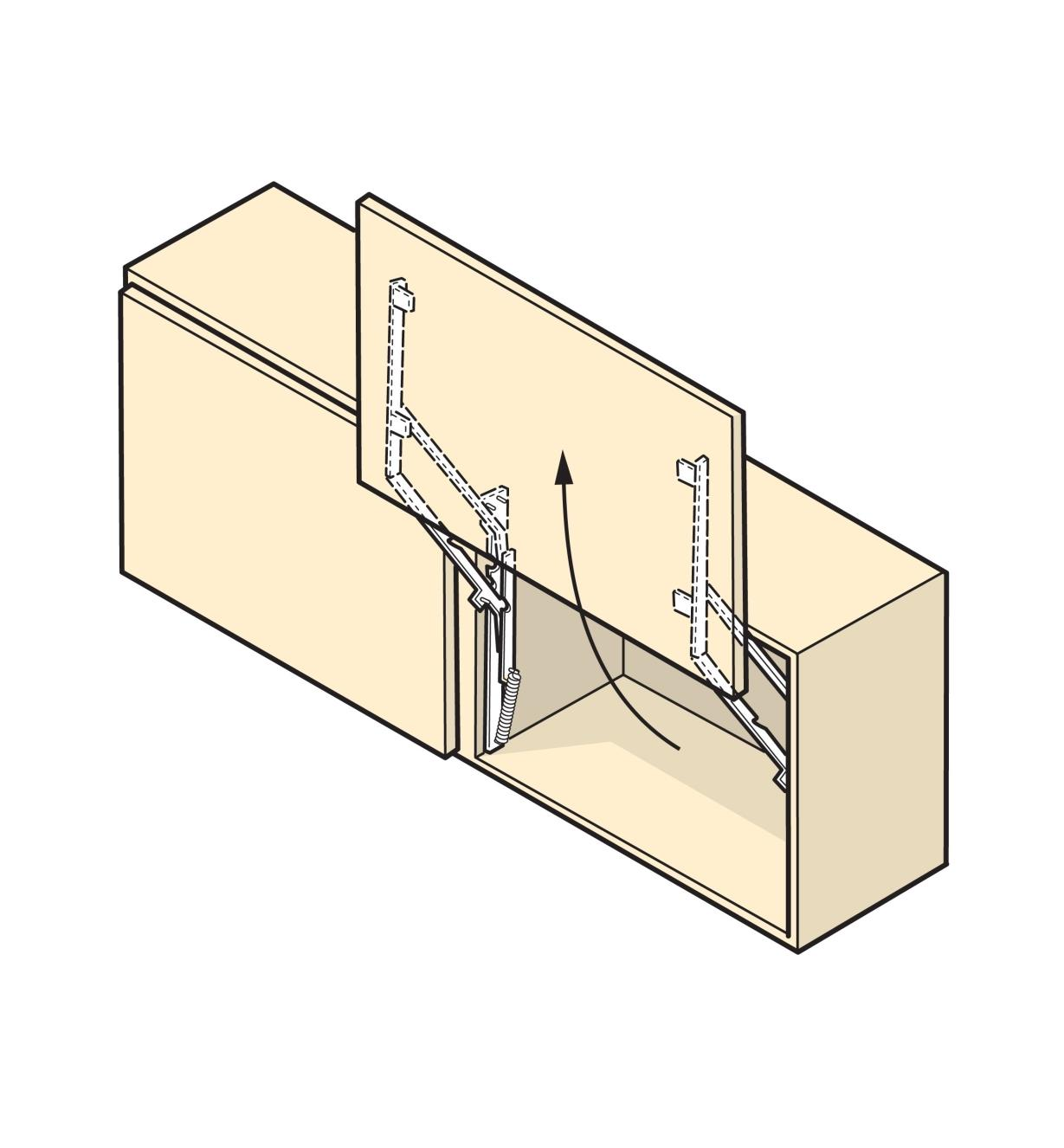 Illustration of a cabinet door that swings upward, made with Parallock brackets