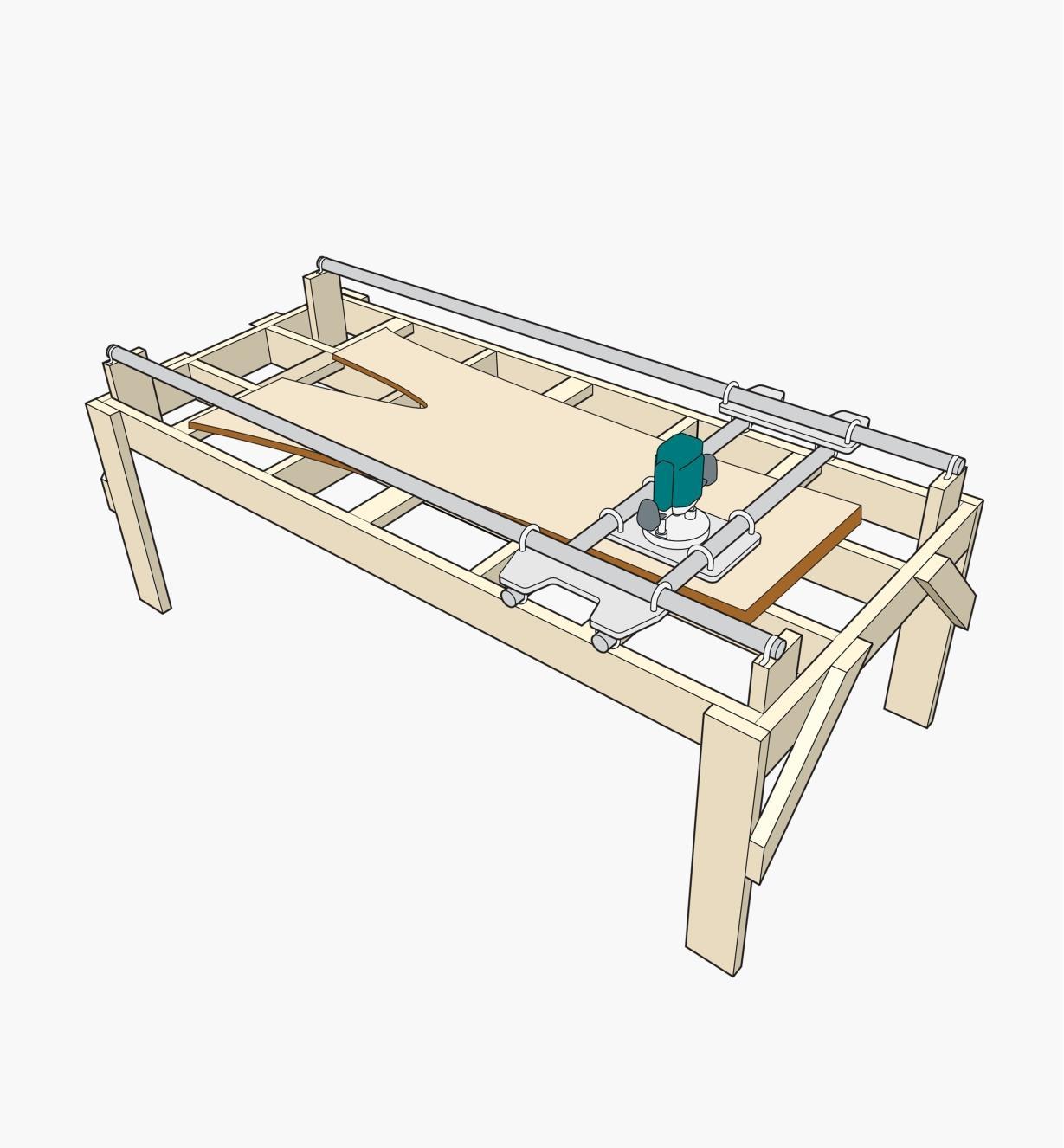 Dessin montrant une pièce de bois brut à dresser positionnée sur le chariot de dressage. Une plateforme en bois soutient le chariot et la pièce.