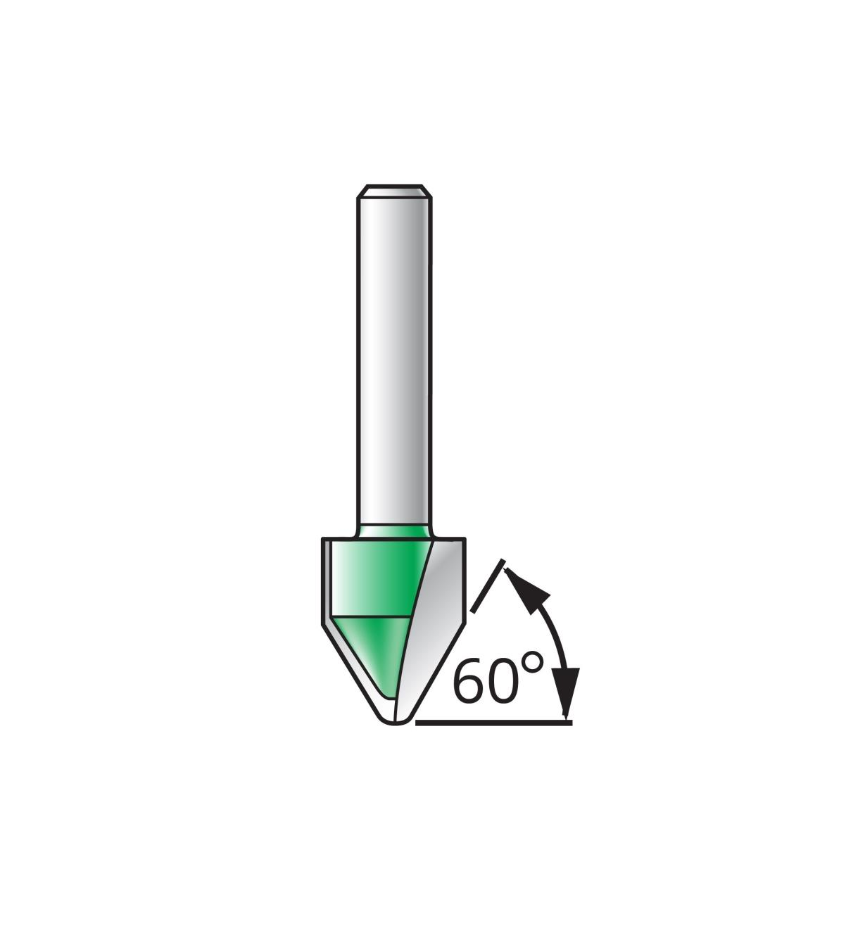 16J5201 - Mèche à lettrage à fond arrondi