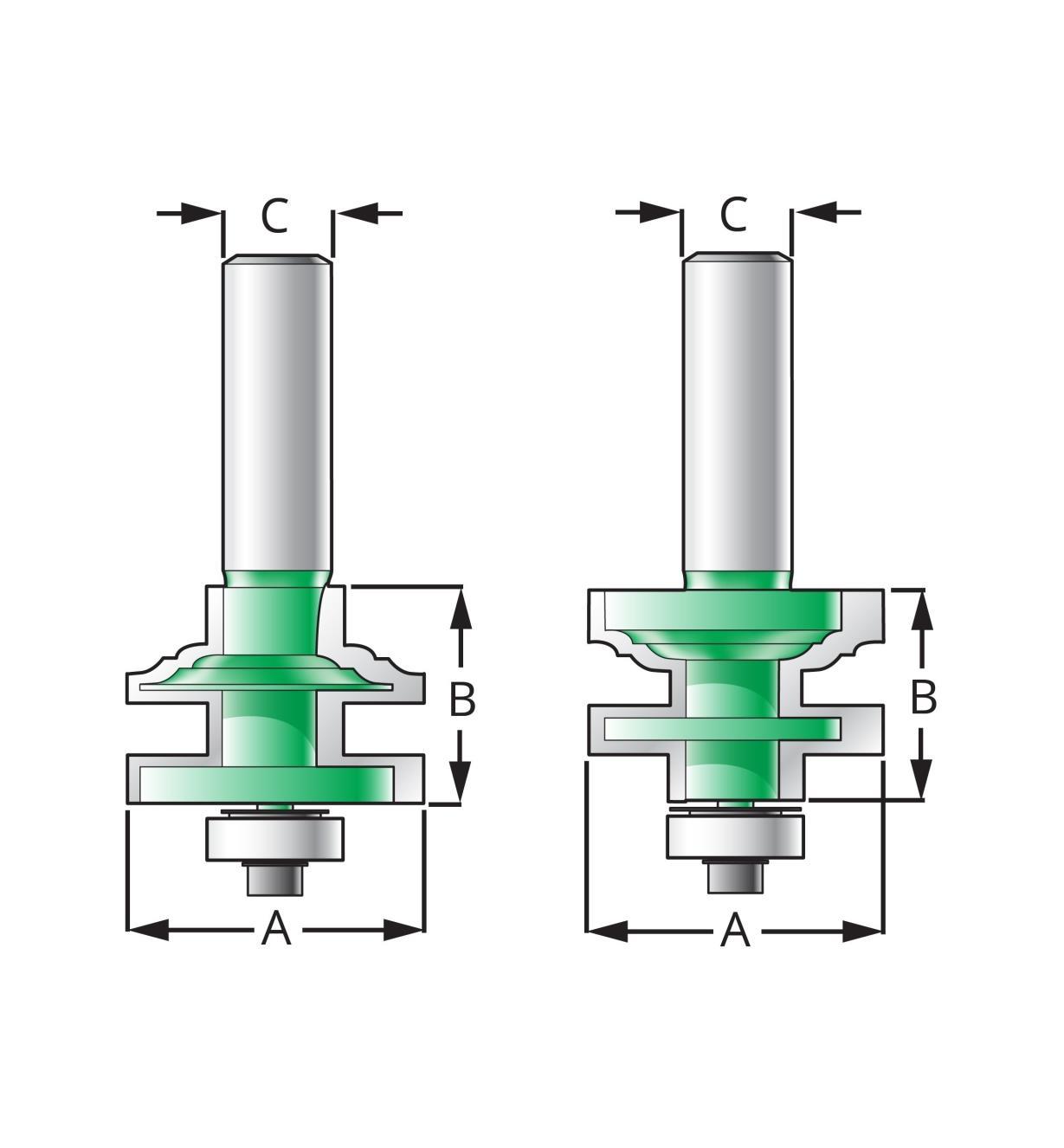 16J6853 - Mèches à profil et contre-profil classiques, 13/8po x1po x1/2po