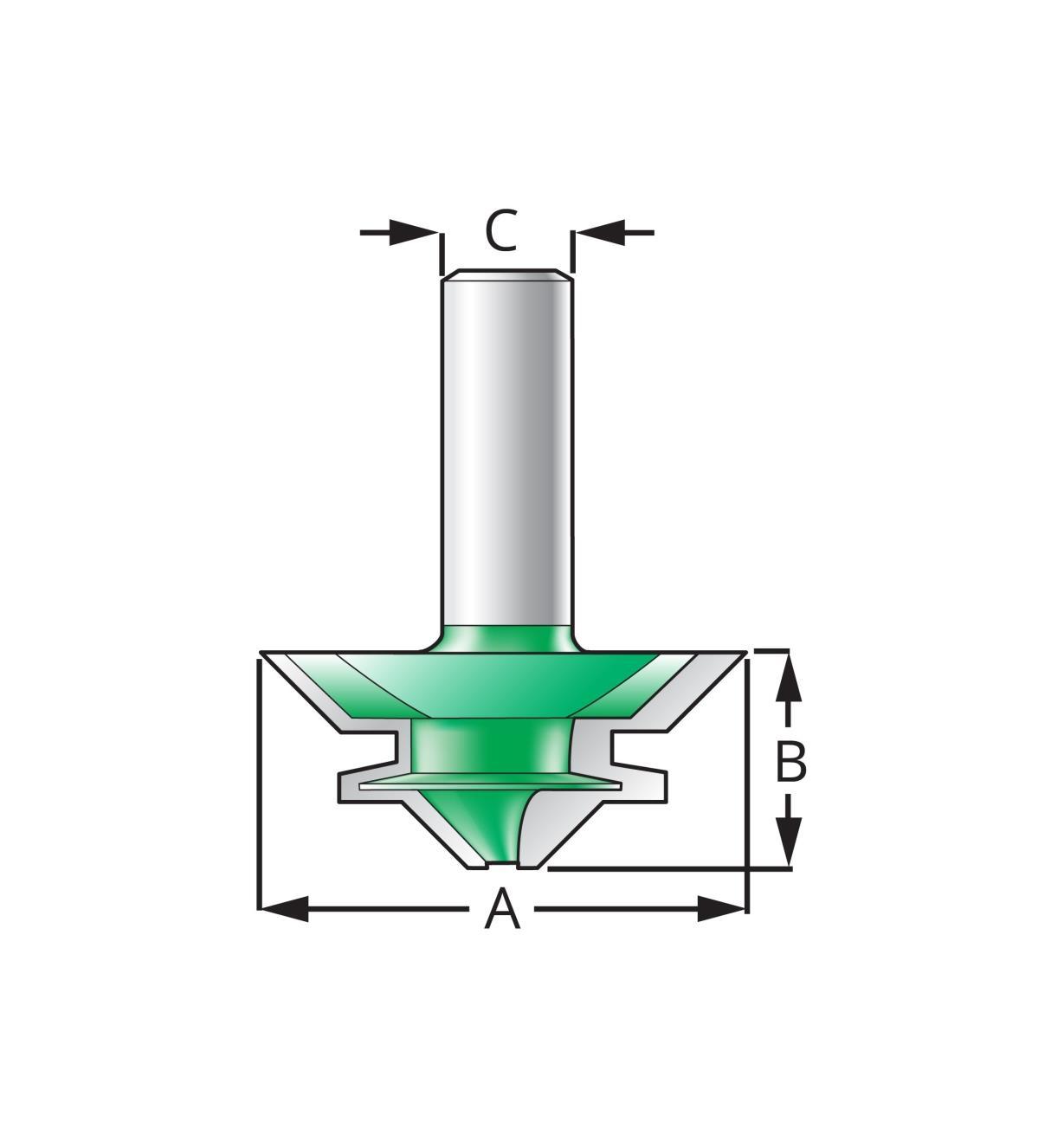 16J7508 - Mèche à onglet verrouillé, 1 1/2po x 1/2po x 1/4po