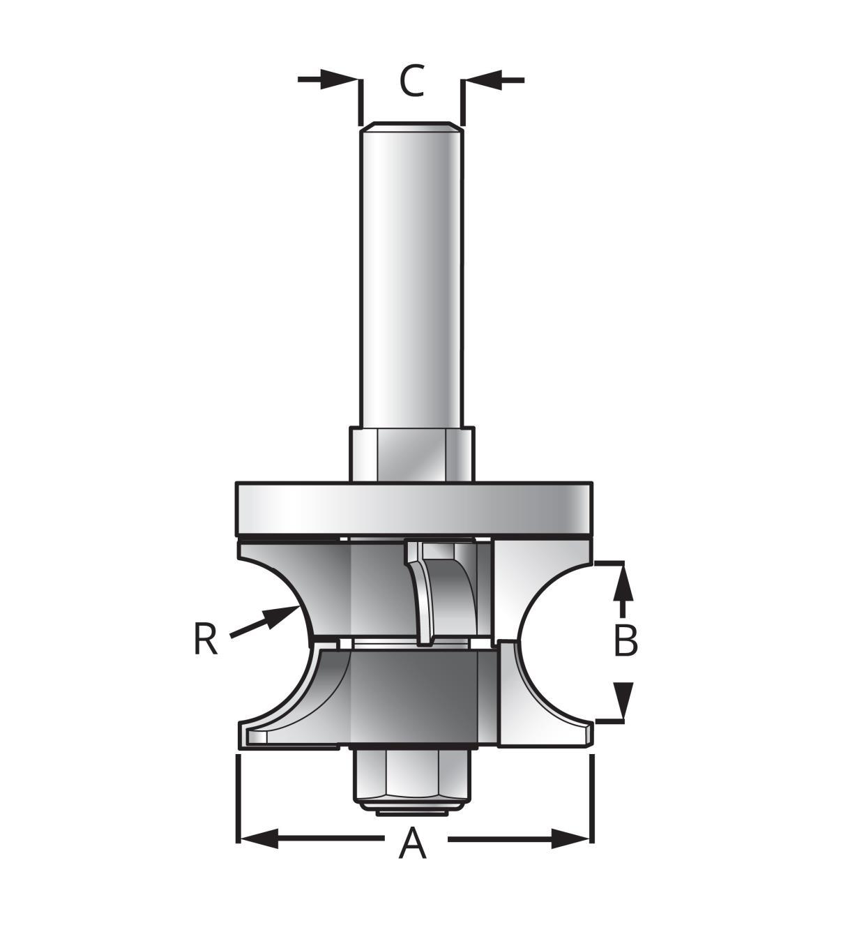 16J9403 - Mèche à bordure arrondie réglable pour contreplaqué