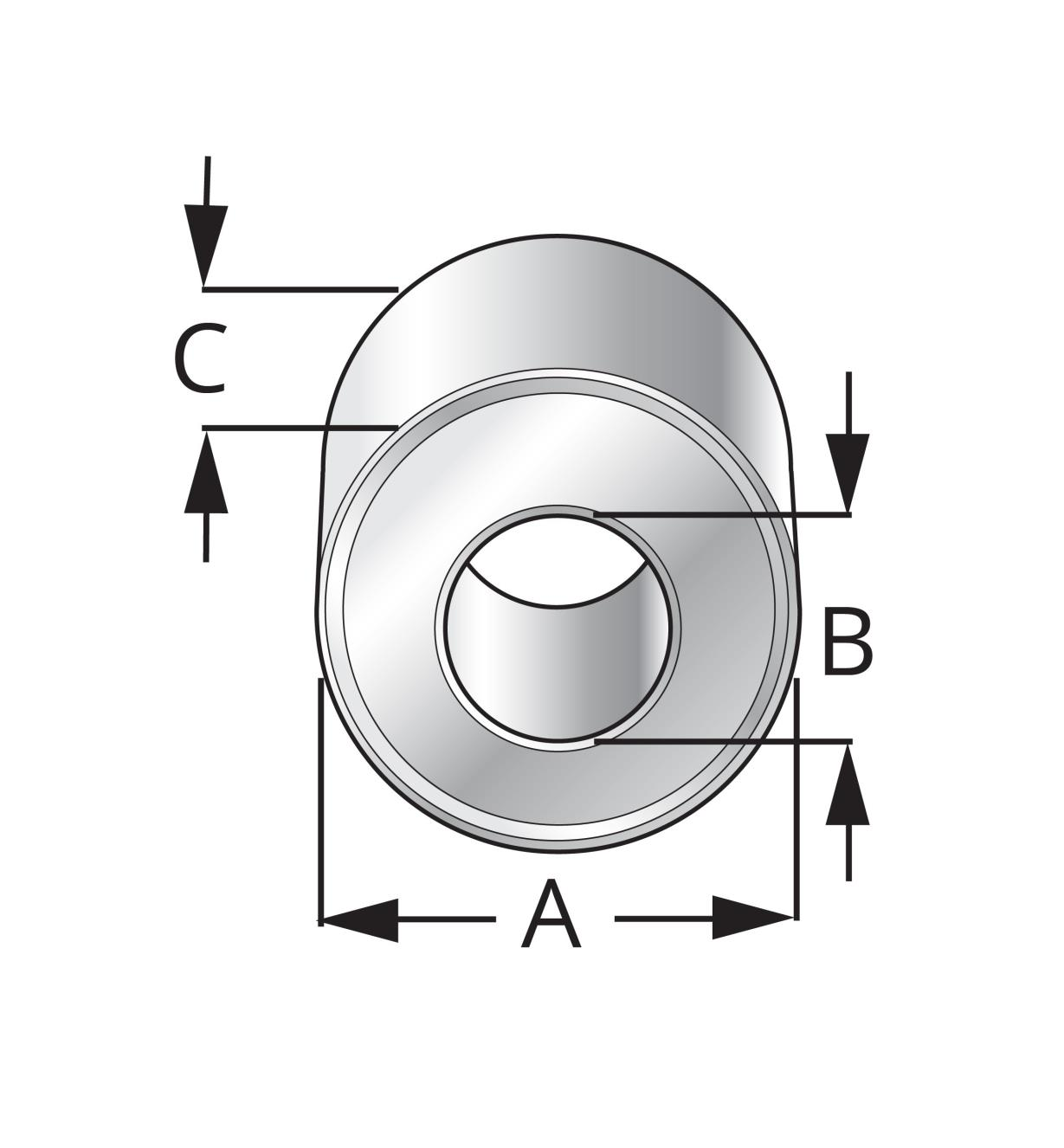 Diagram of Router Bit Ball Bearings showing measurements