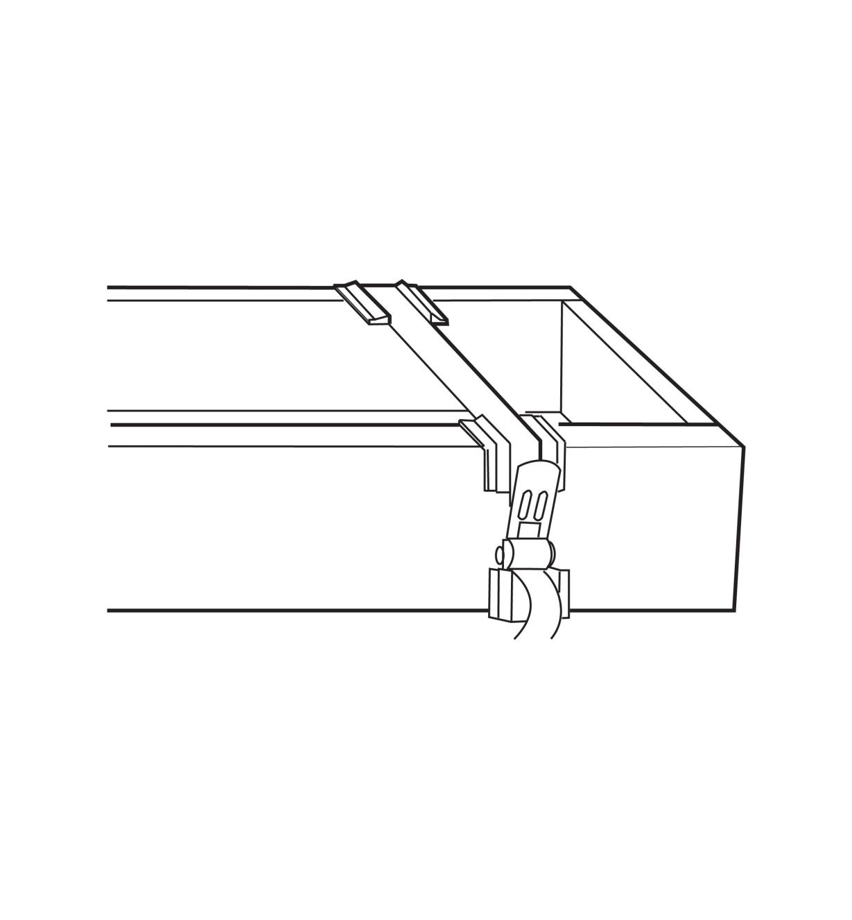 Illustration of web clamp used to clamp a drawer