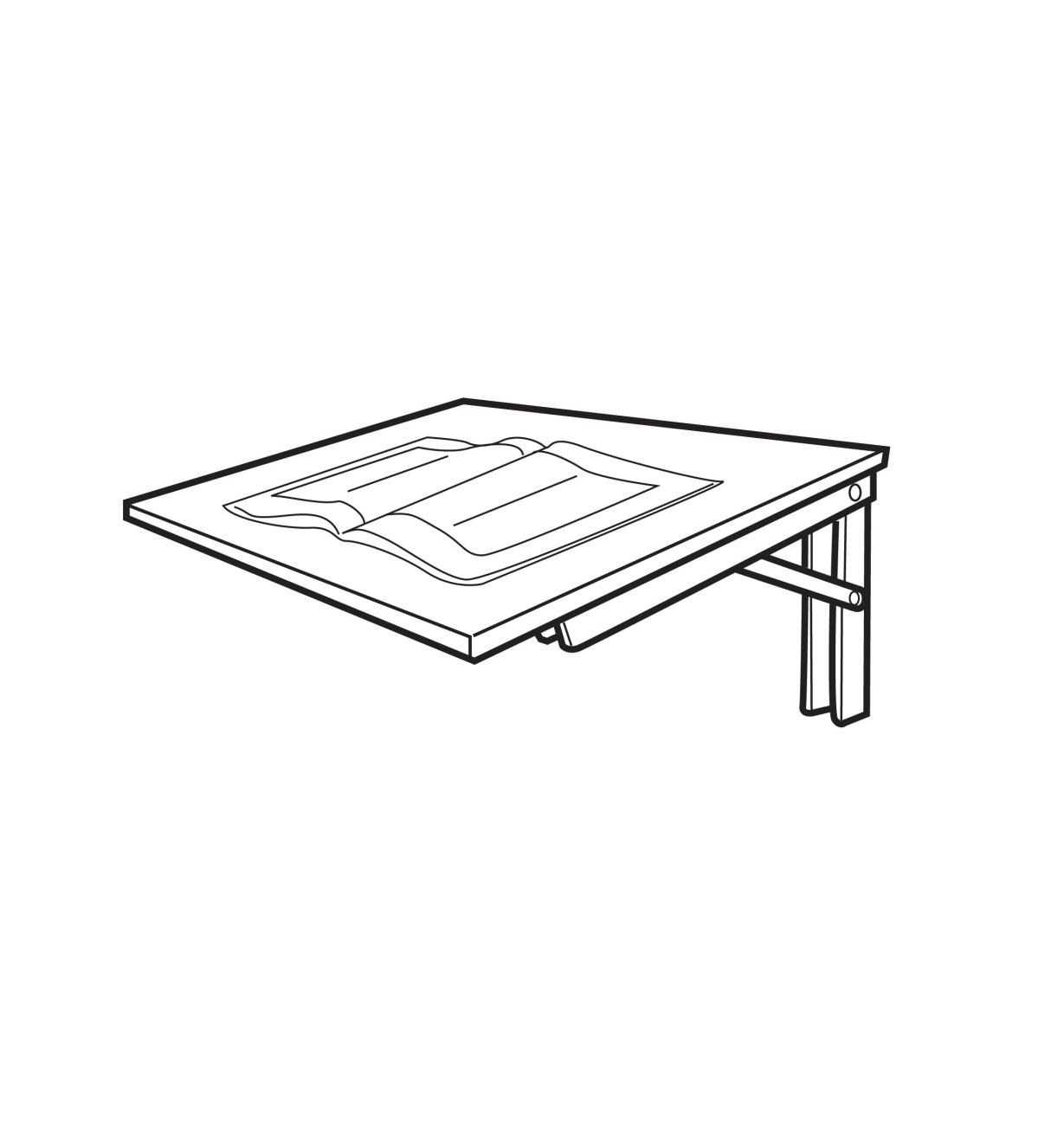 Illustrated example of fold-away table set at 80°, holding a magazine