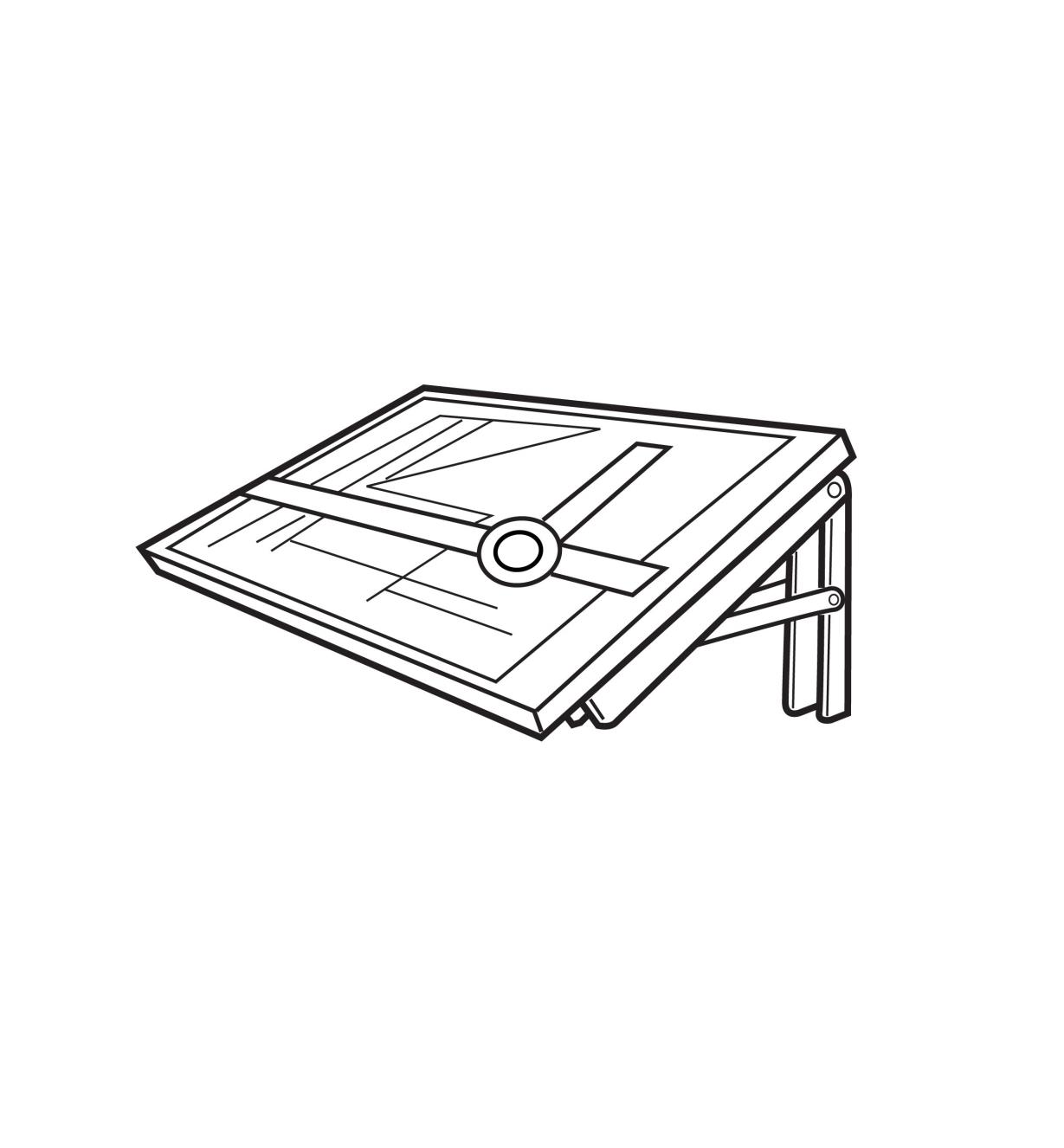Illustrated example of fold-away drafting table set at 70°