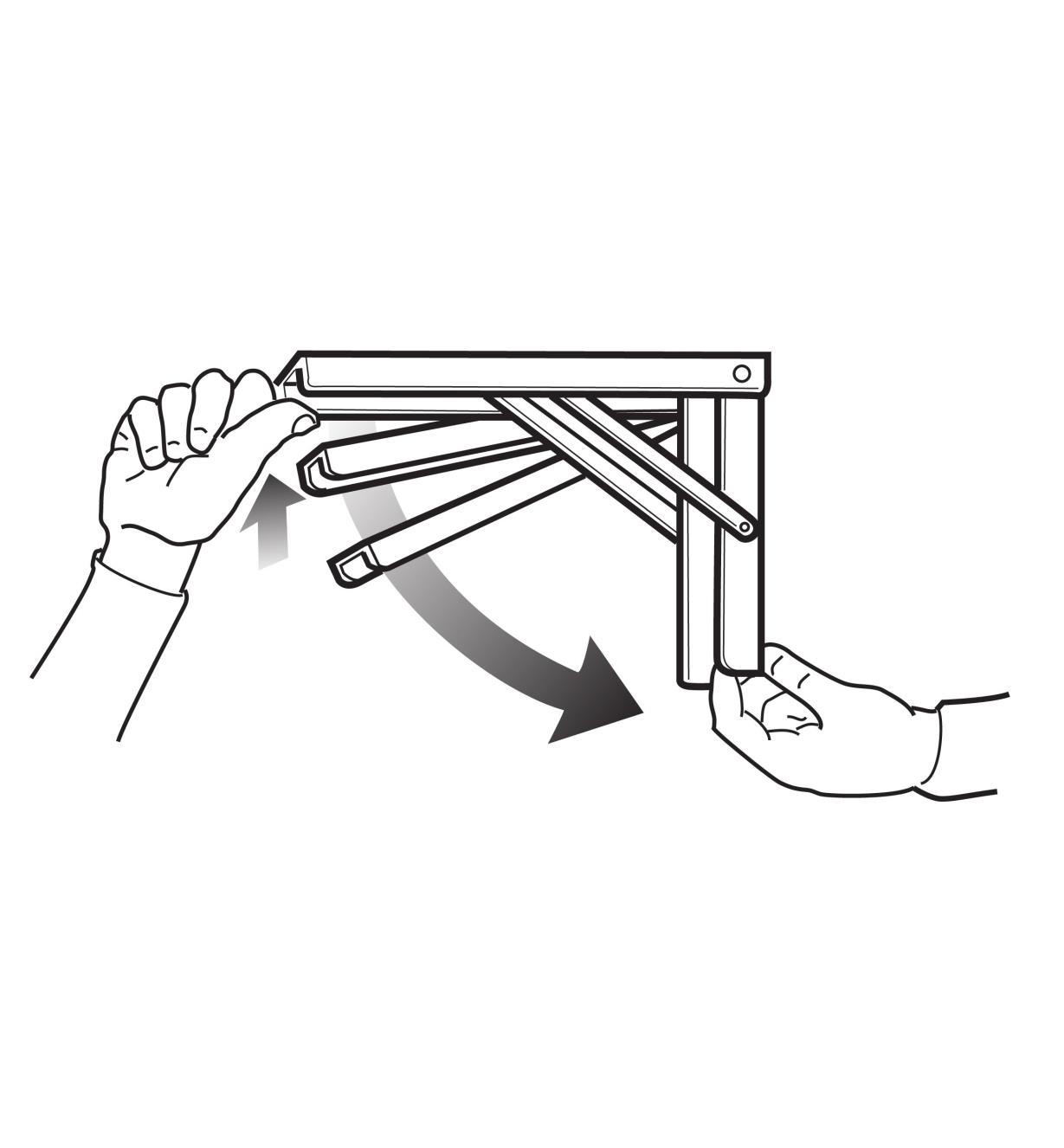 Illustration demonstrates how the bracket can be set at three different angles or closed