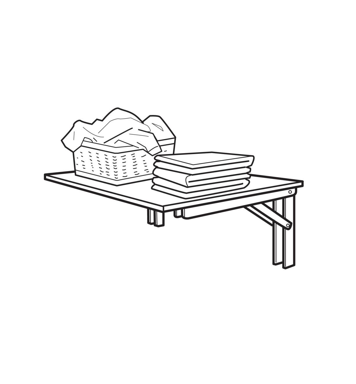 Illustrated example of fold-away table set at 90°, holding laundry