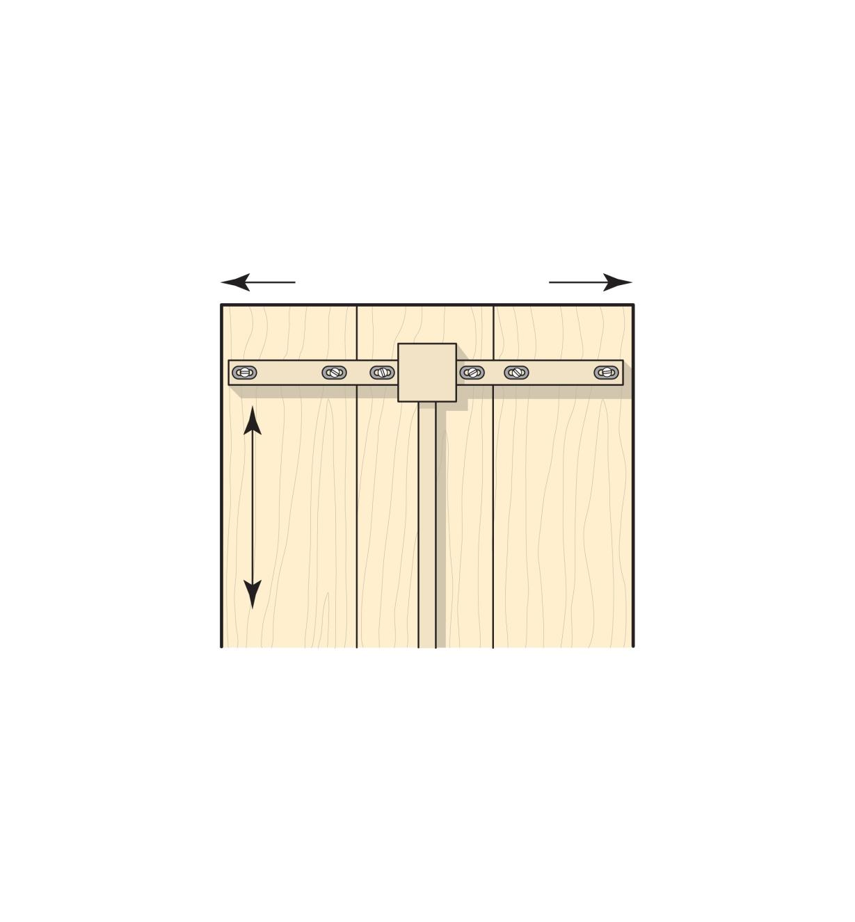 Illustration of Expansion Washers being used to attach a trestle table top base