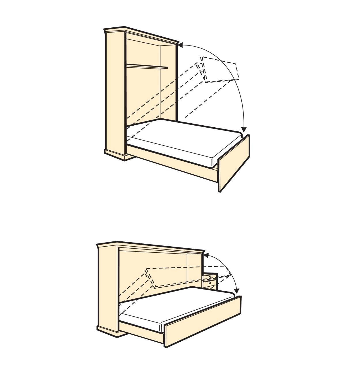 Illustrated examples of vertical and horizontal fold-down beds