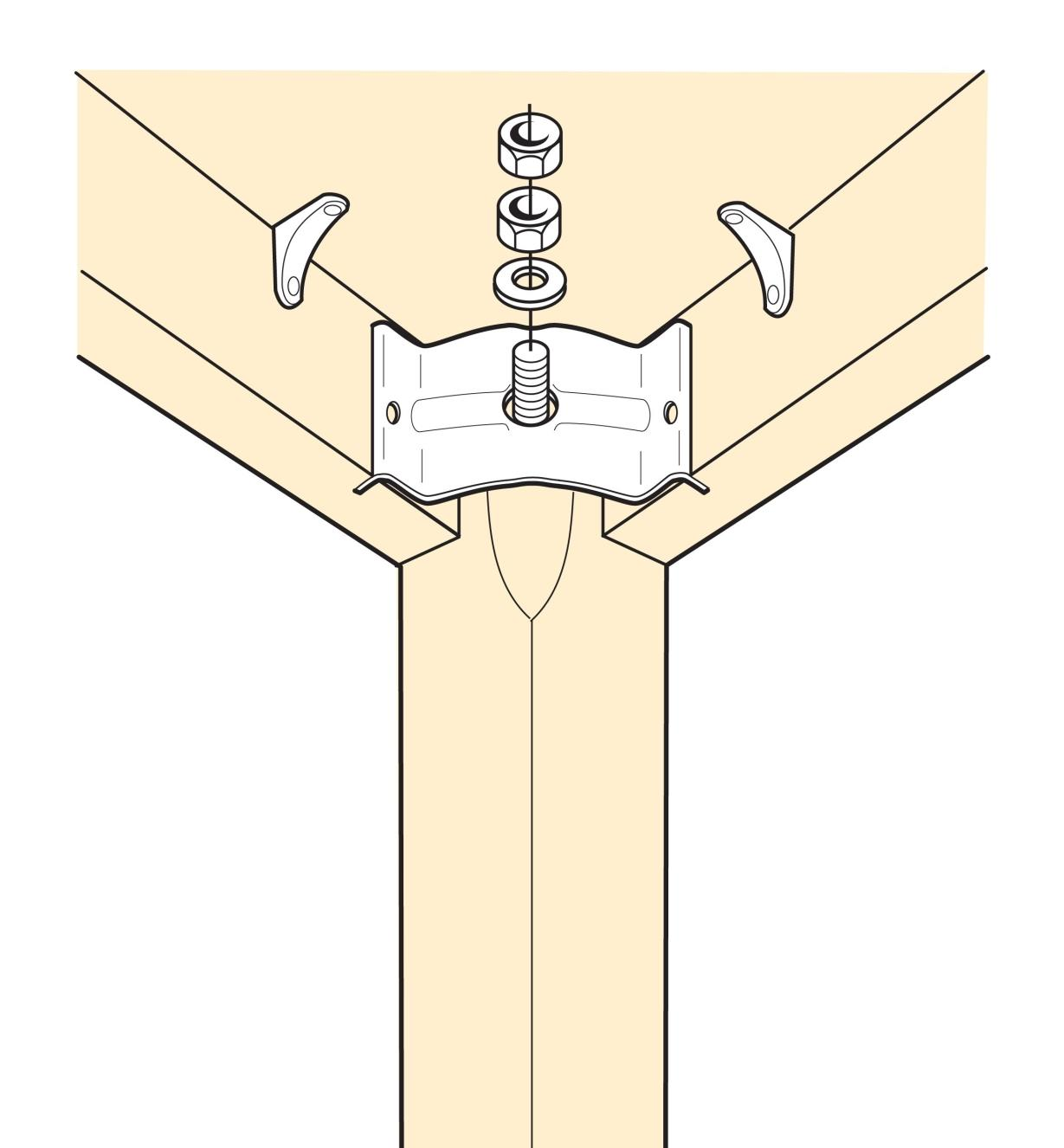 Illustration of Heavy-Duty Leg Brace installed in a table