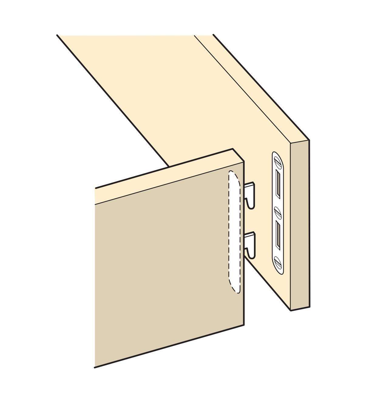 Illustration montrant des ferrures de lit à encastrer sur le cadre d'un lit