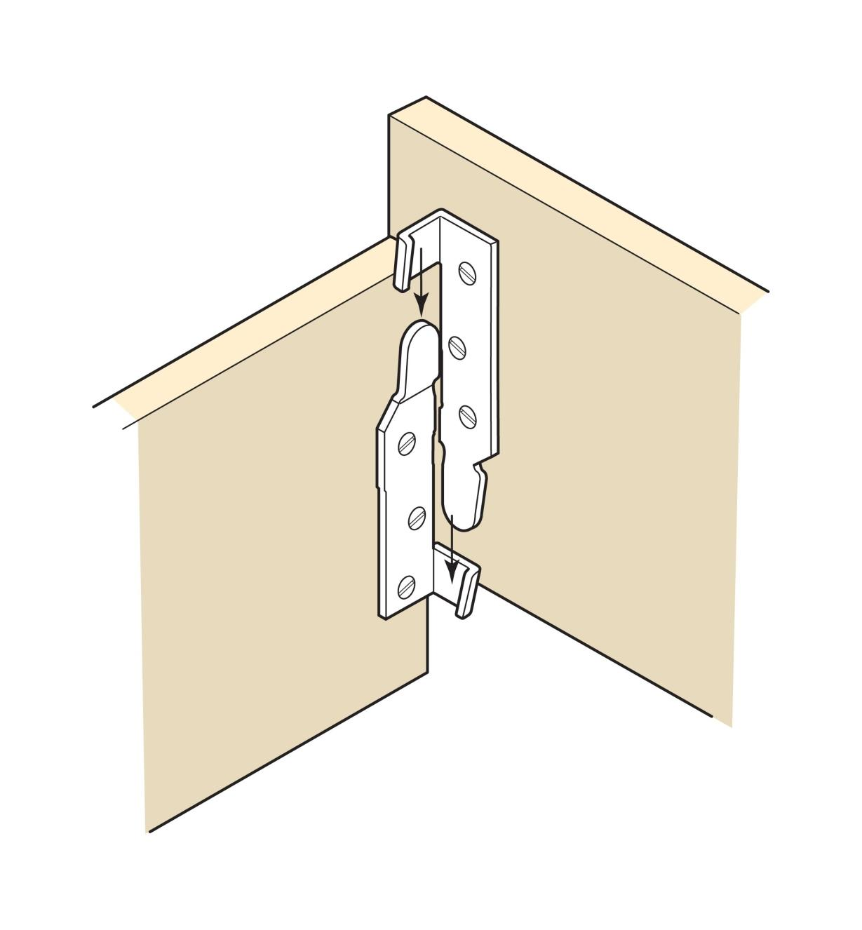 Illustration of Bed Rail Fasteners installed on a bed frame