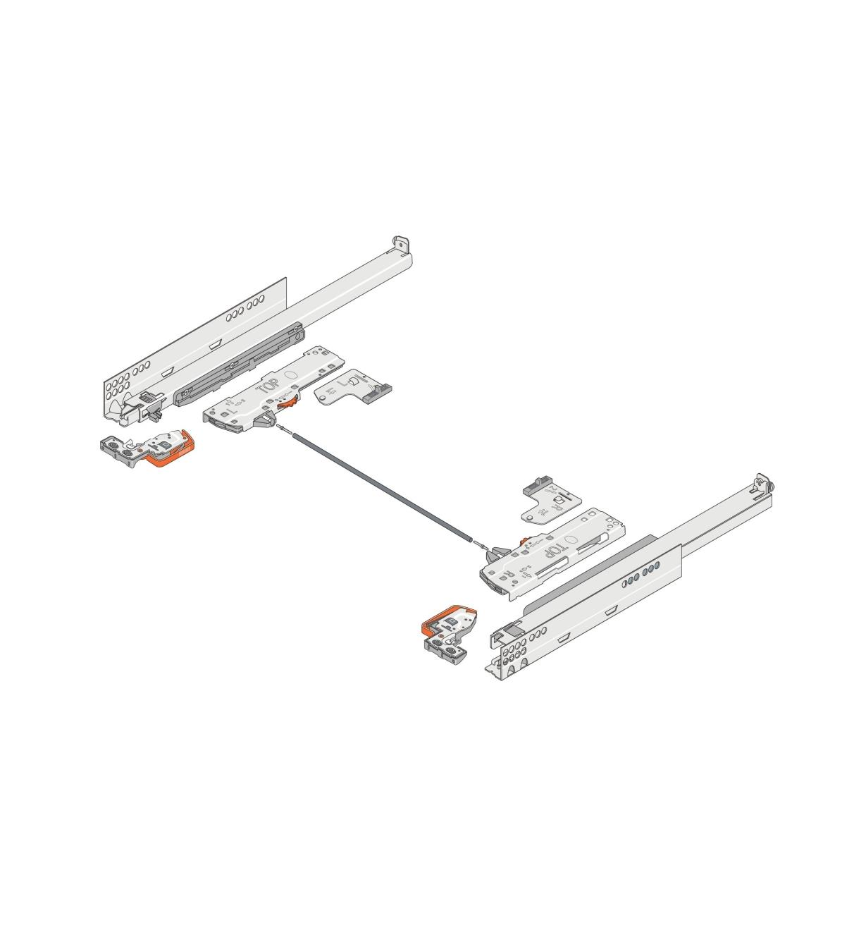 Diagram of Blum Tip-On Movento Drawer Slides connected by a linkage bar