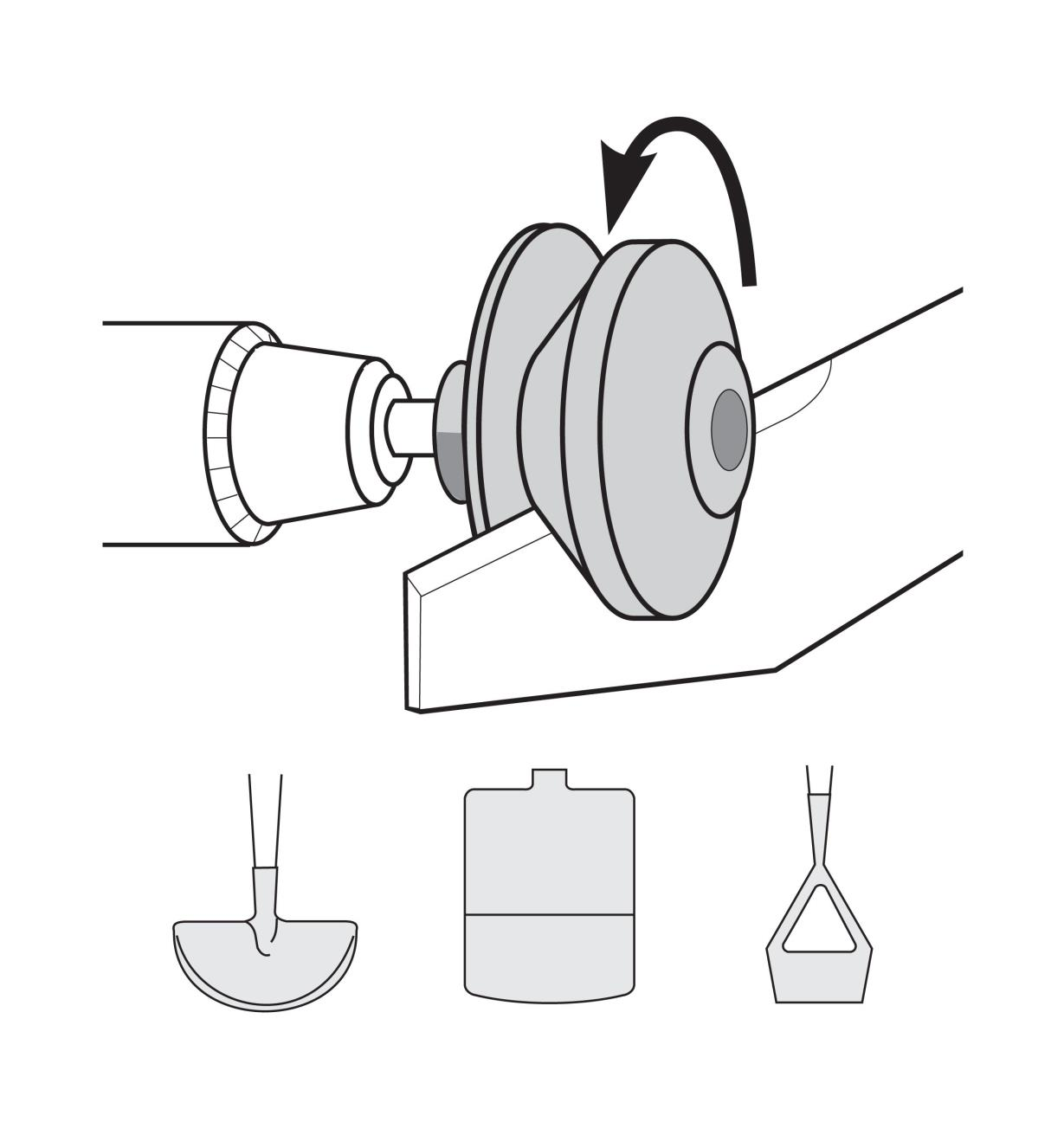 Illustration shows the Rotary Mower Sharpener in a hand drill sharpening a mower blade