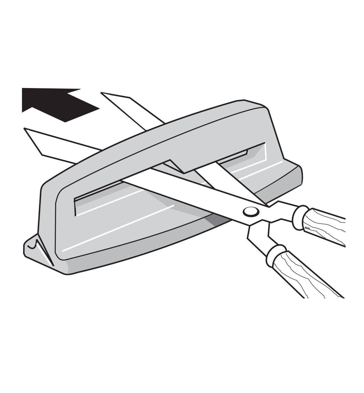 Illustration of shears being inserted into the sharpener