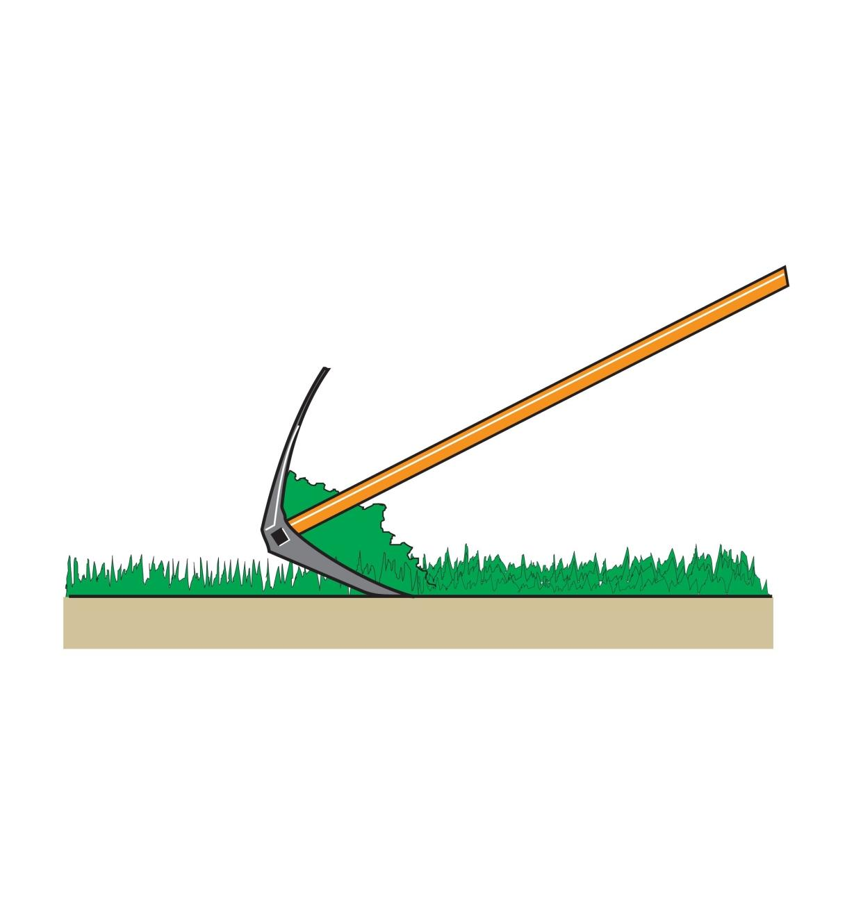 Illustration of the Power Rake collecting grass clippings