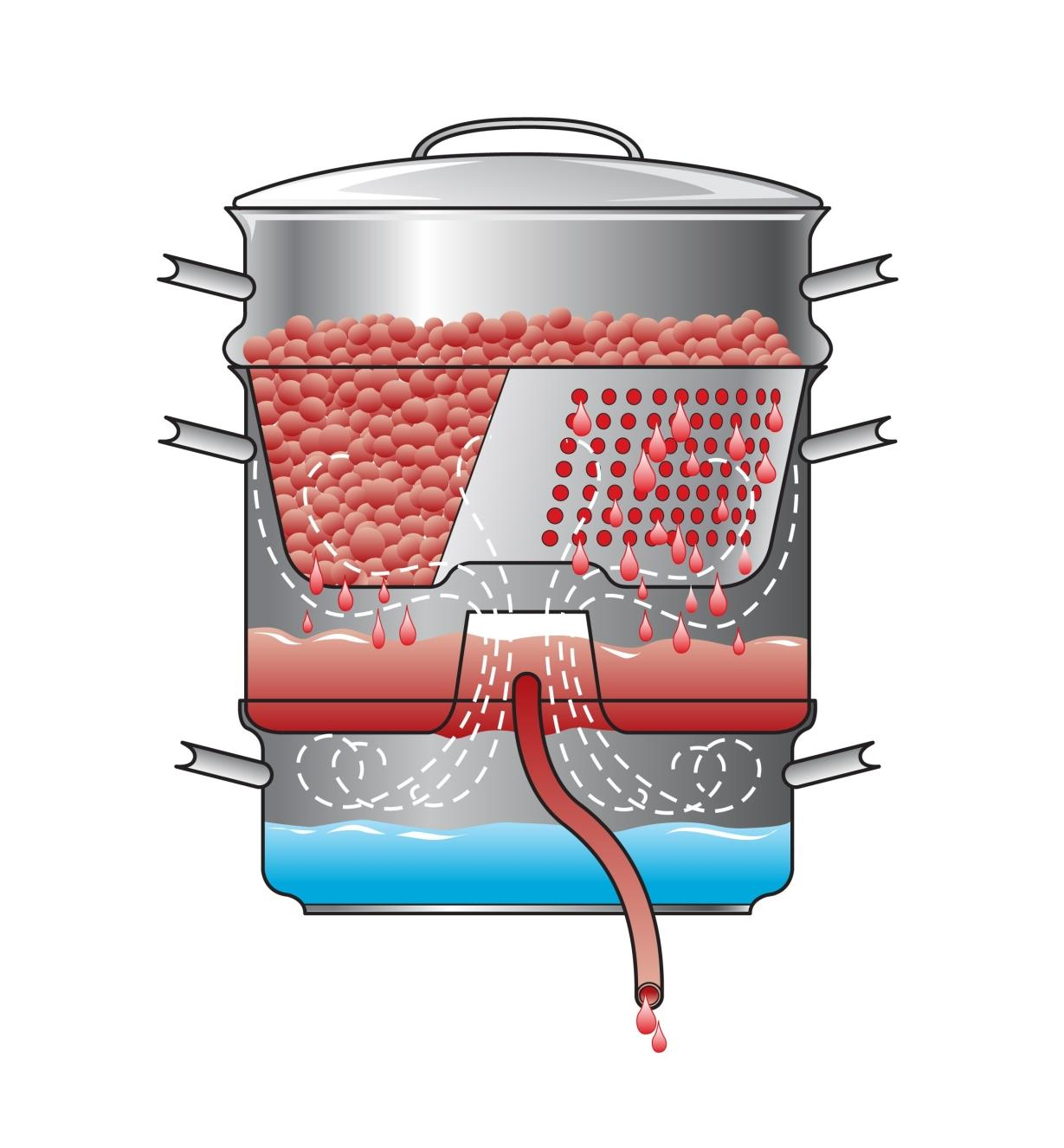 Illustration showing the juicing process inside the juicer