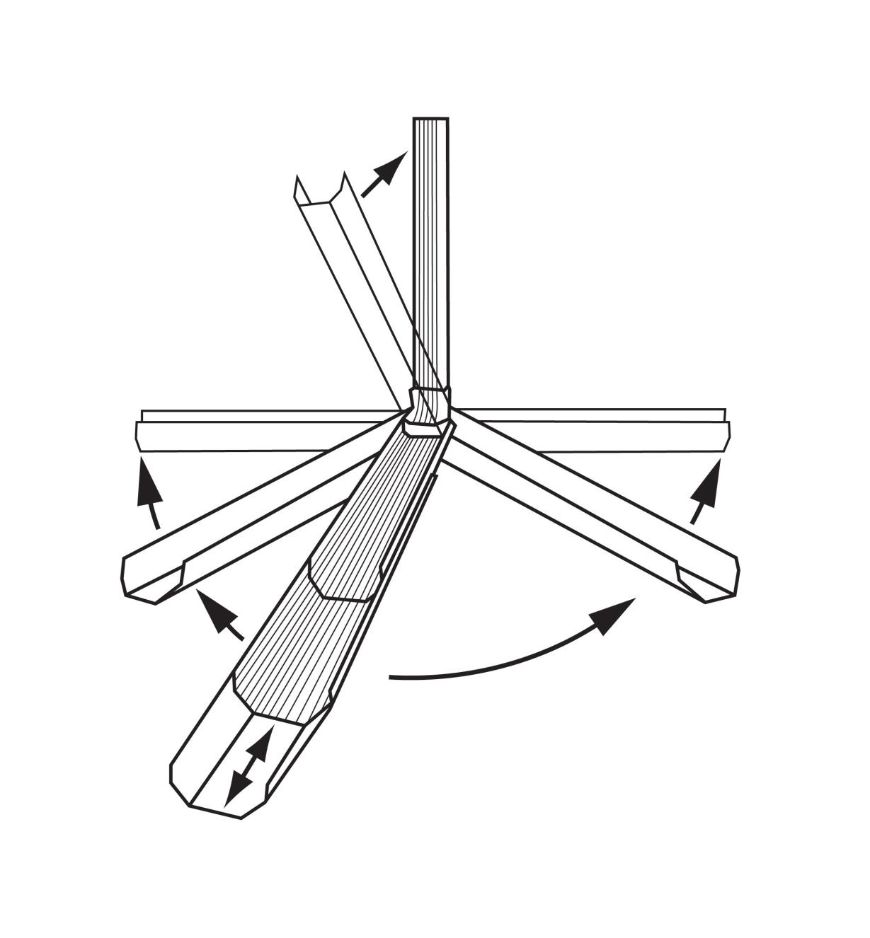 Illustration of Adjustable Downspout's various possible positions: up, down, telescoped, and swiveled 180 degrees