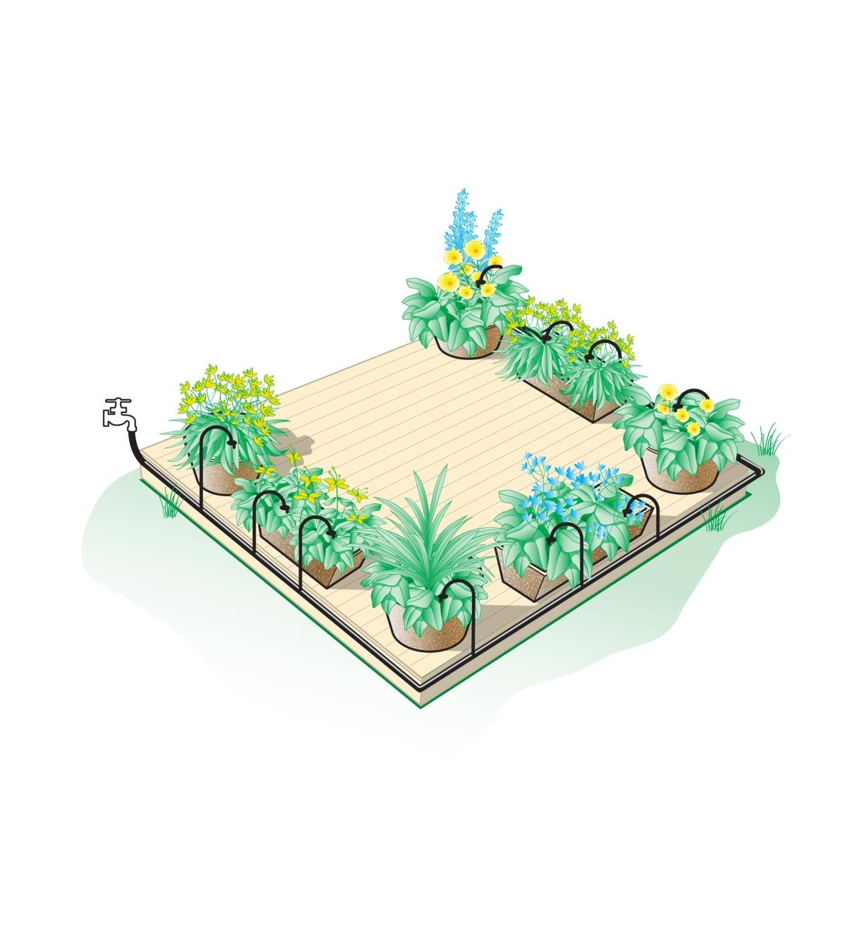 Illustrated example of deck watering kit set up on 15' × 15' deck