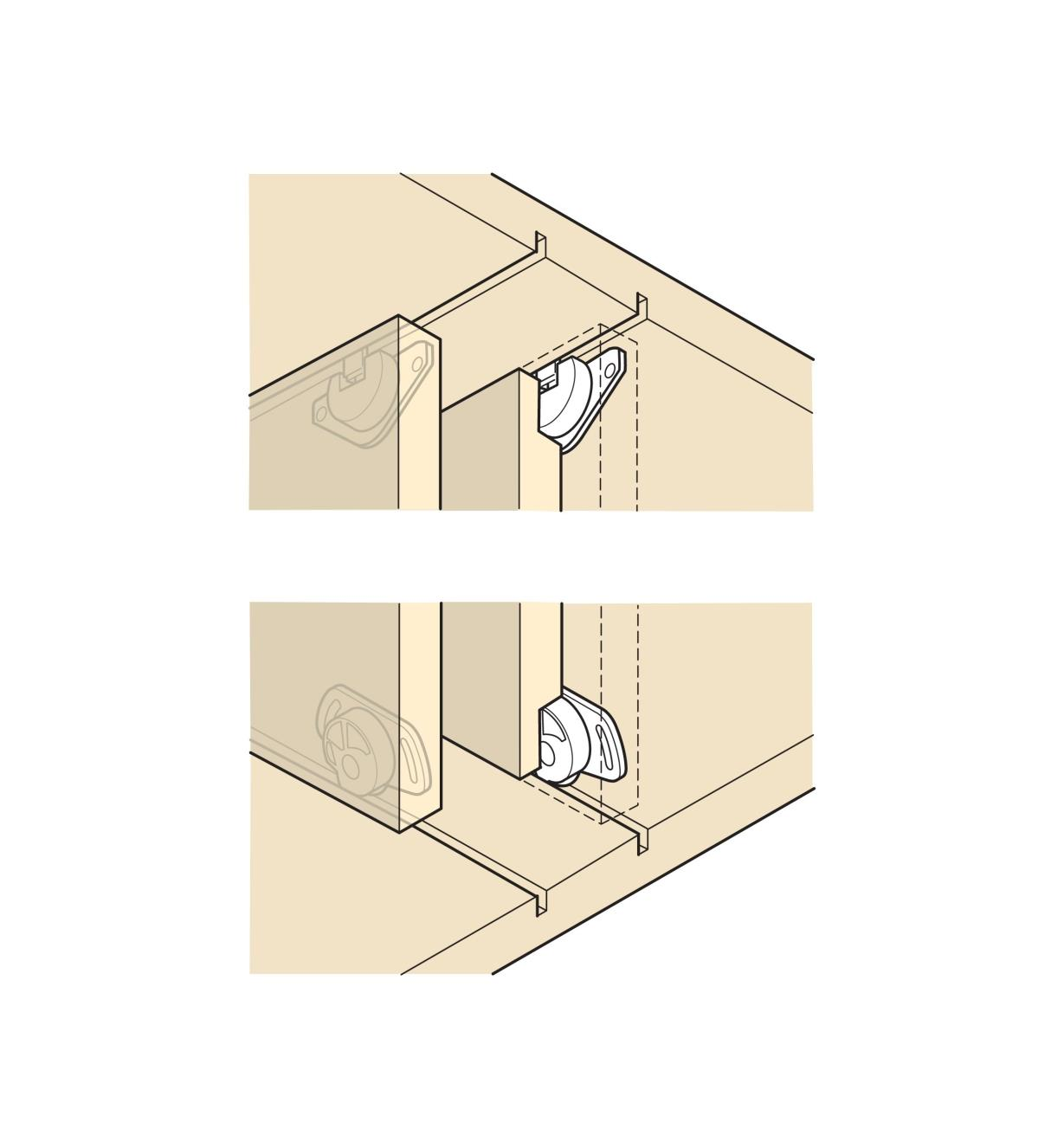 Illustration of plastic guides installed in the top and bottom of a door