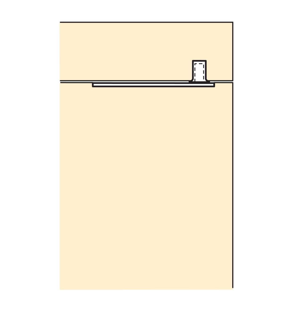 Illustration of door joined to cabinet with Pivot Hinges