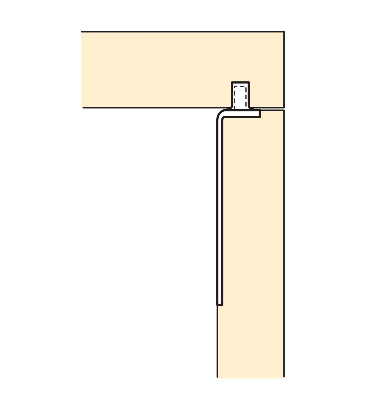 Illustration of door joined to cabinet with Rear Pivot Hinge