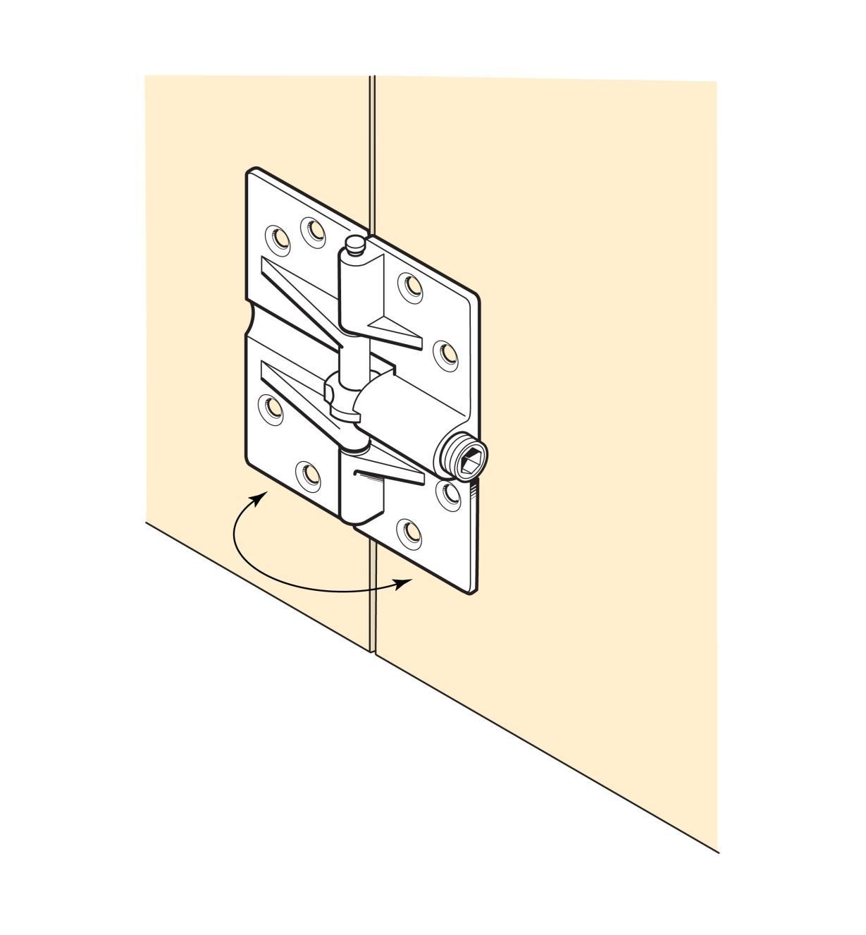 00H3790 - Charnières à dispositif de retenue, la paire