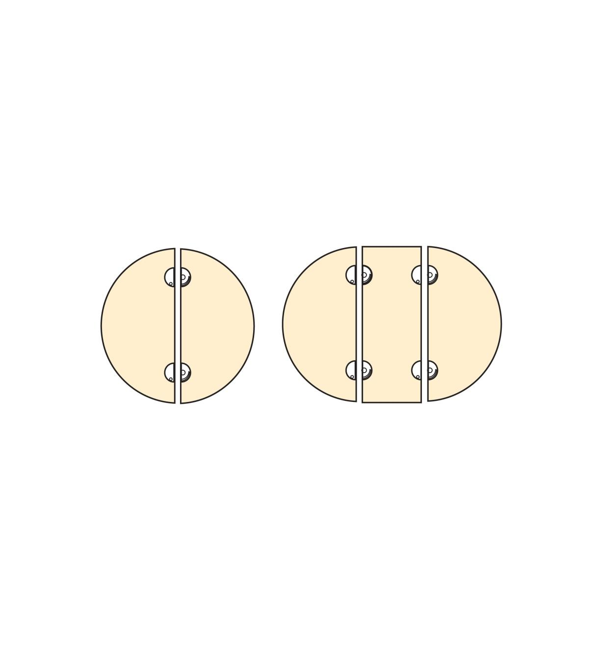 00S1022 - Loquets pivotants circulaires pour plateaux detable, lapaire