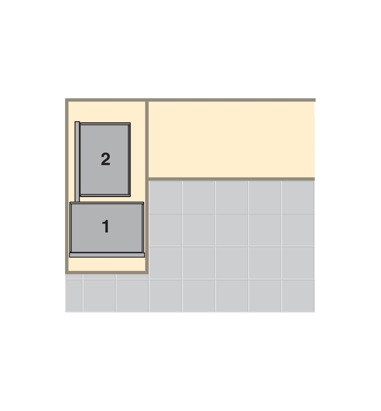 Top-view diagram shows blind-corner unit installed in a cabinet