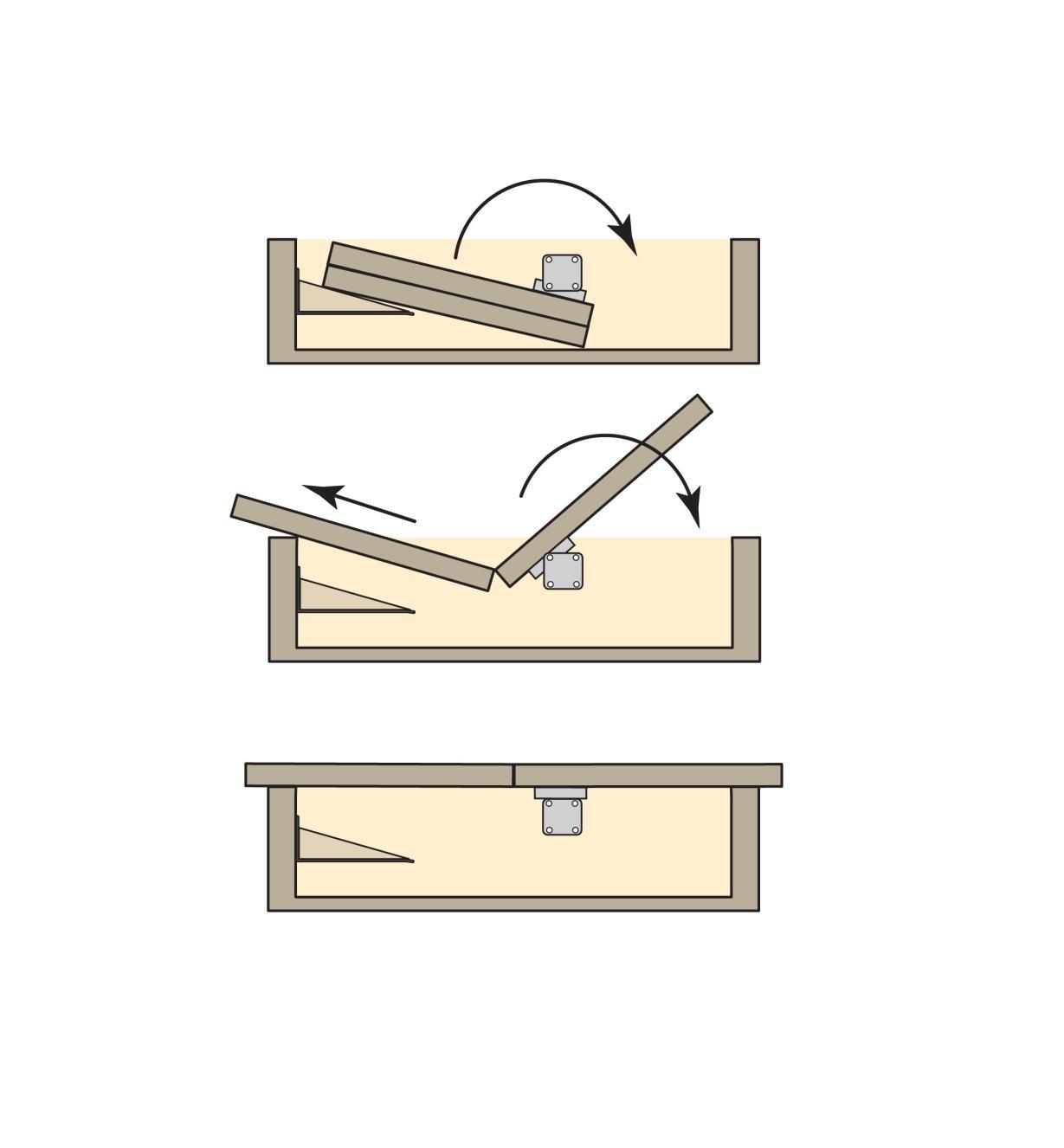 17K1541 - Mécanisme pivotant pour table à rallonge escamotable pliante