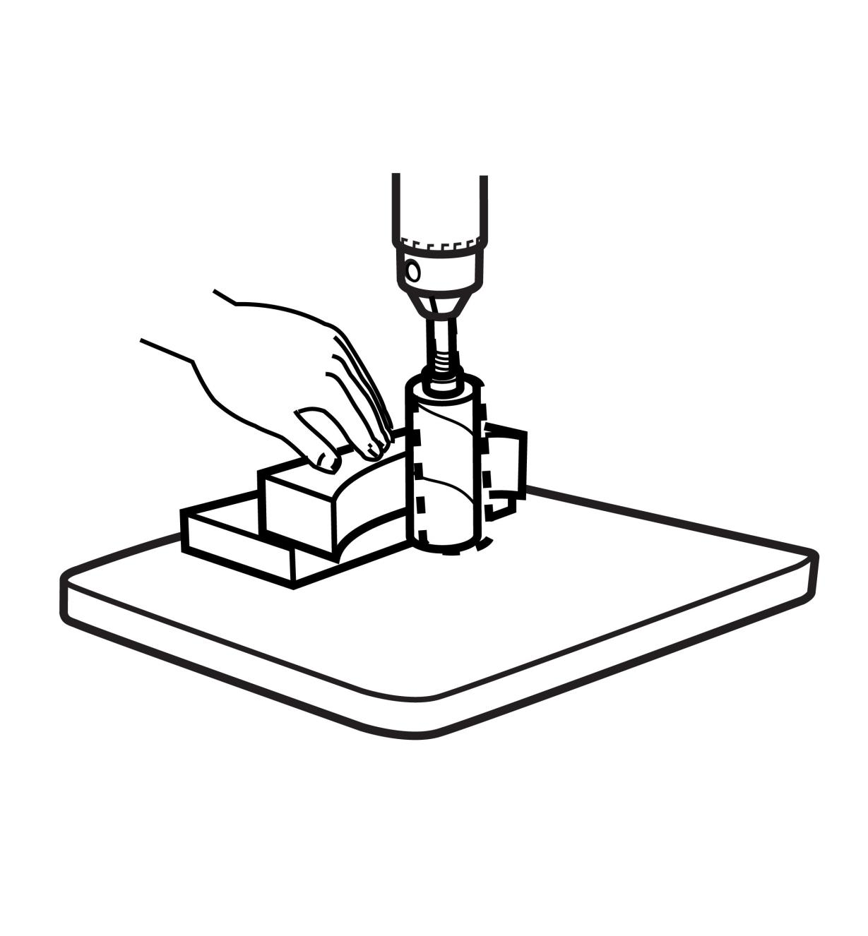 Illustration of sanding without the Drum-Sander Support System