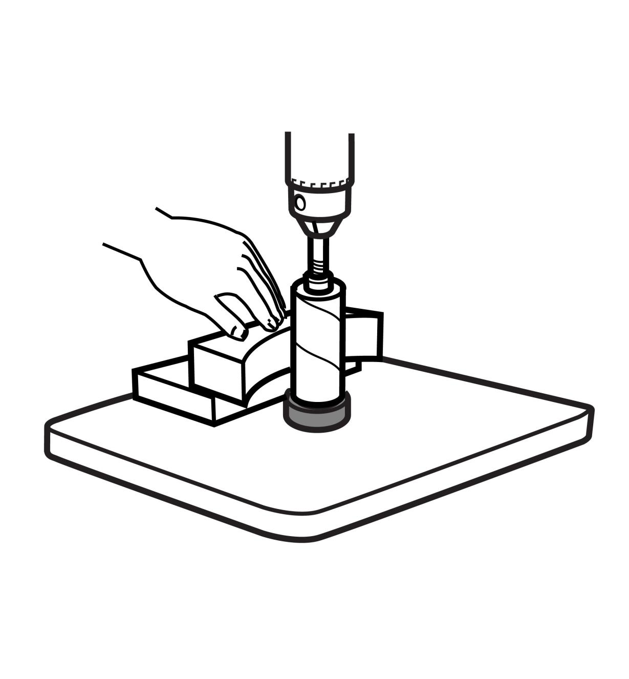 Illustration of sanding with the Drum-Sander Support System