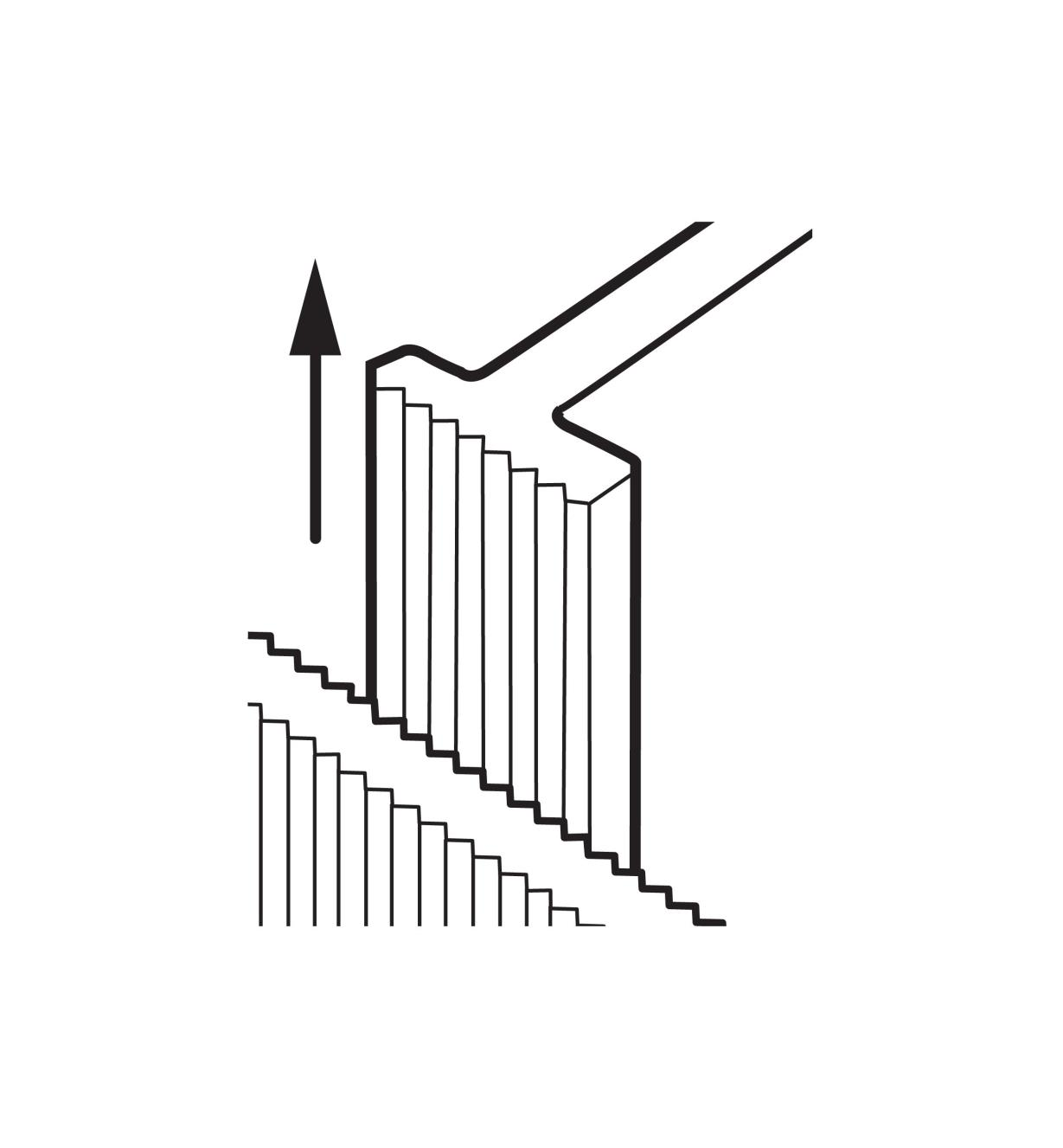 Illustration shows how to move the dividers by lifting them from the grooved walls