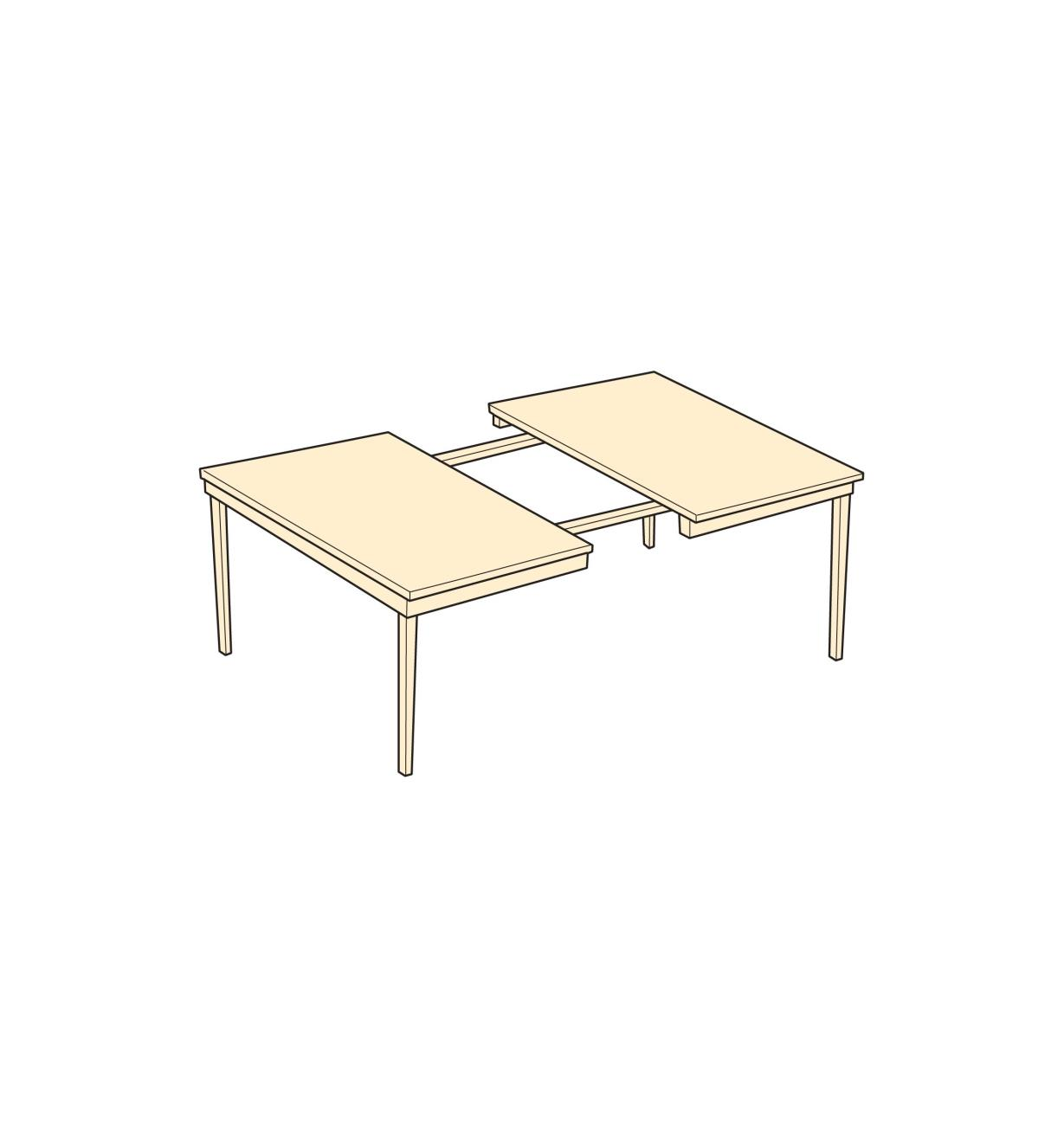 Diagram example of four-leg table with extenders