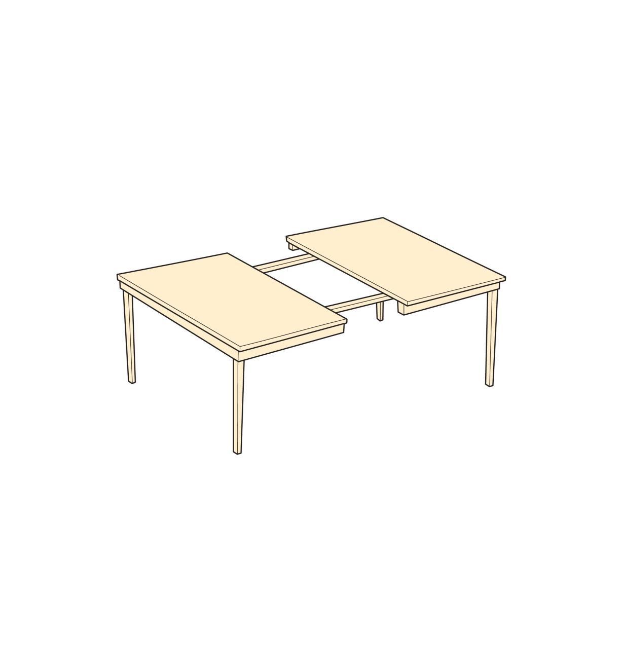 Illustration d'une table à quatre pieds dotée d'une paire de coulisses