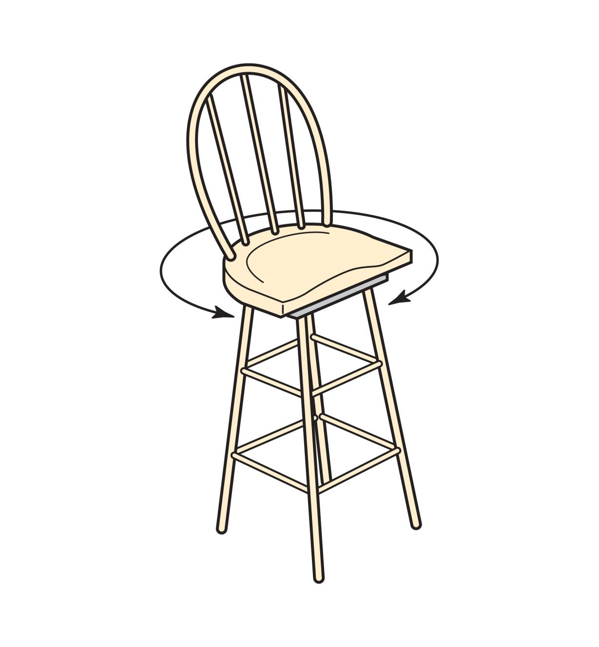 Illustration of a chair made with a seat swivel