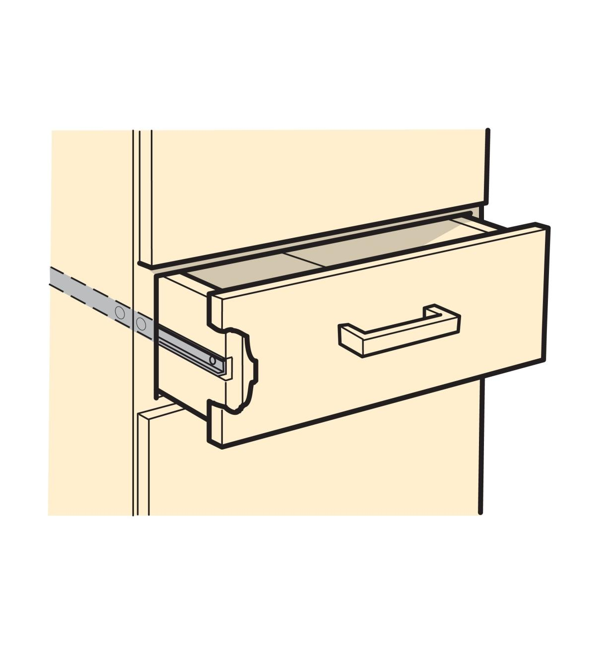 Illustrated example of Slim-Line Drawer Slides installed in a drawer
