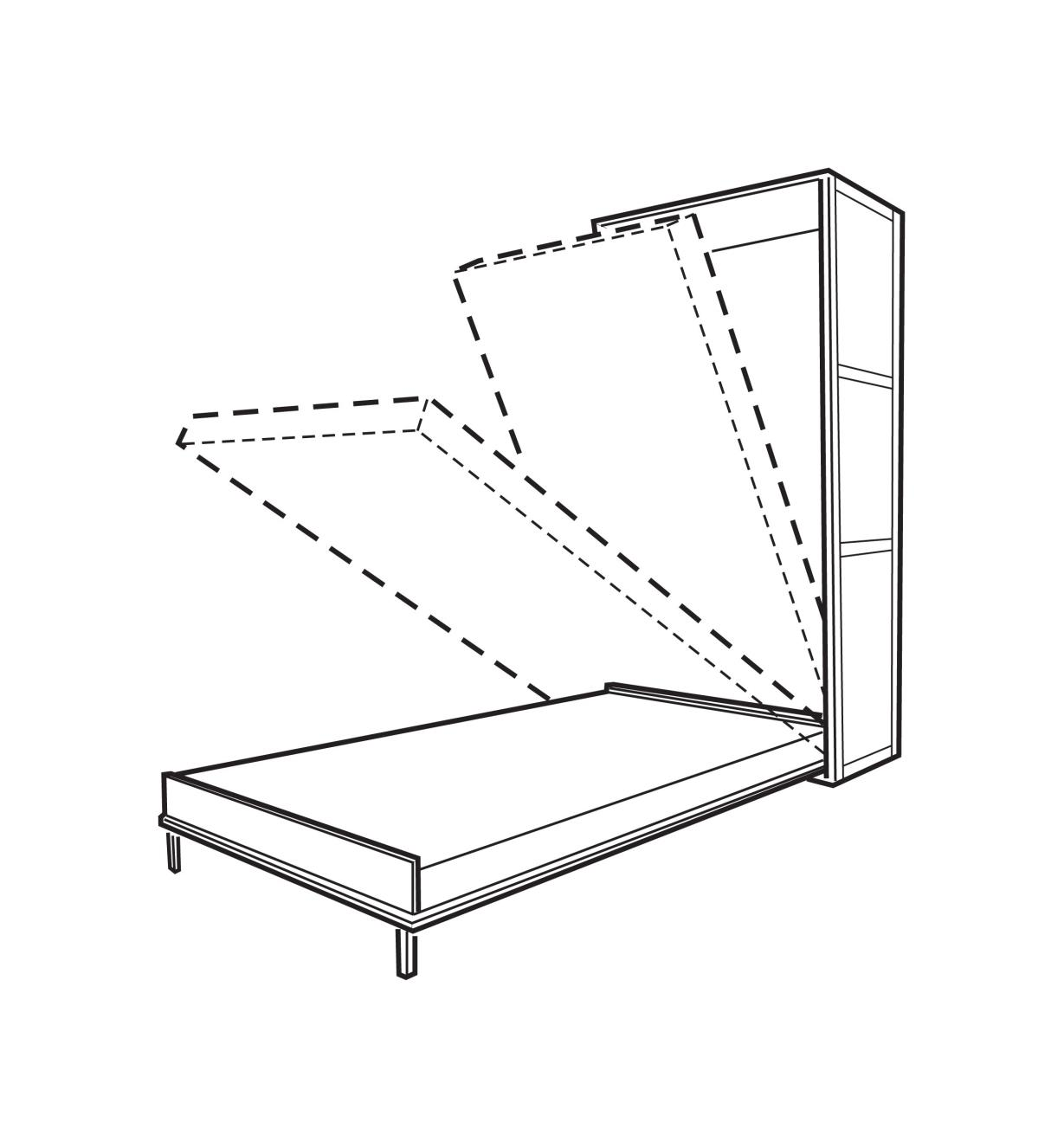 Illustration of Fold-Down Bed being lowered from a cabinet