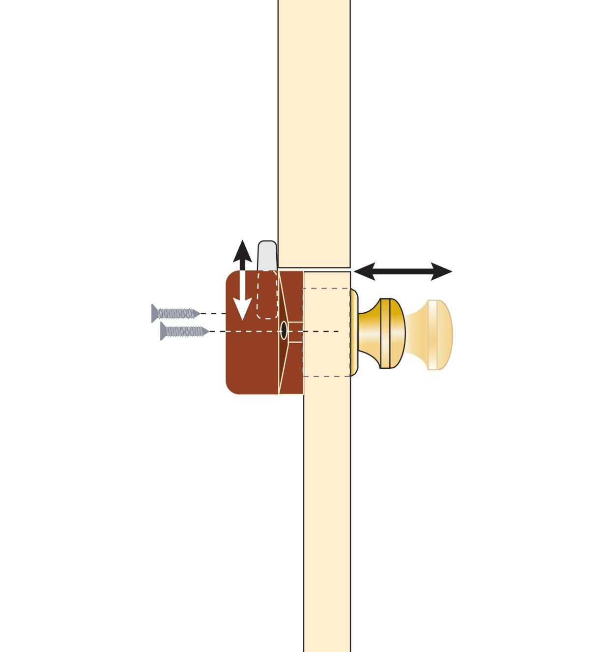 Cutaway illustration shows how to activate the installed latch by pushing the knob