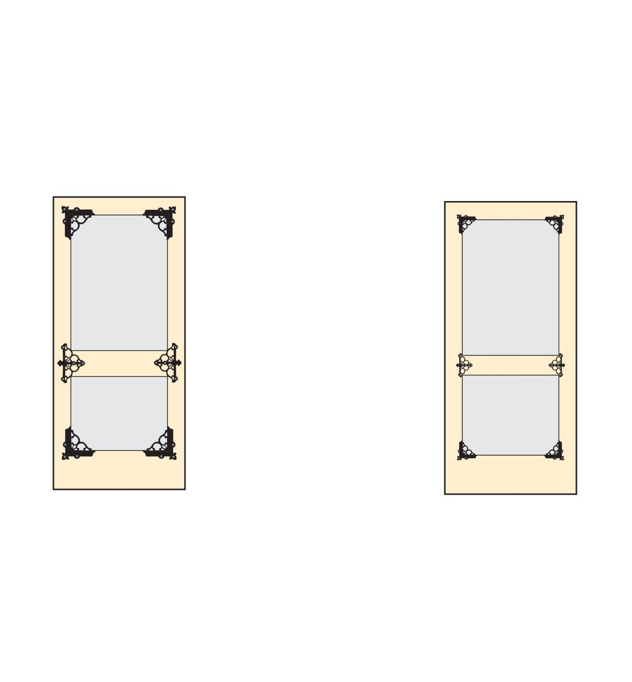 Diagrams show four braces at the corners and two brackets on the center rail of a door