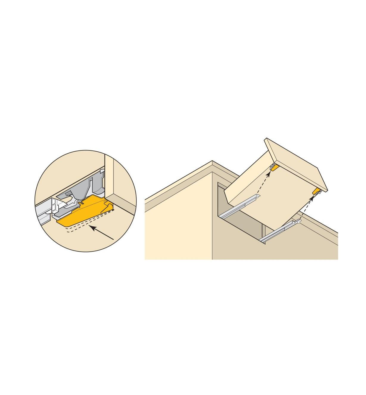 Illustration shows how a lever disengages the drawer from the rail to allow drawer removal