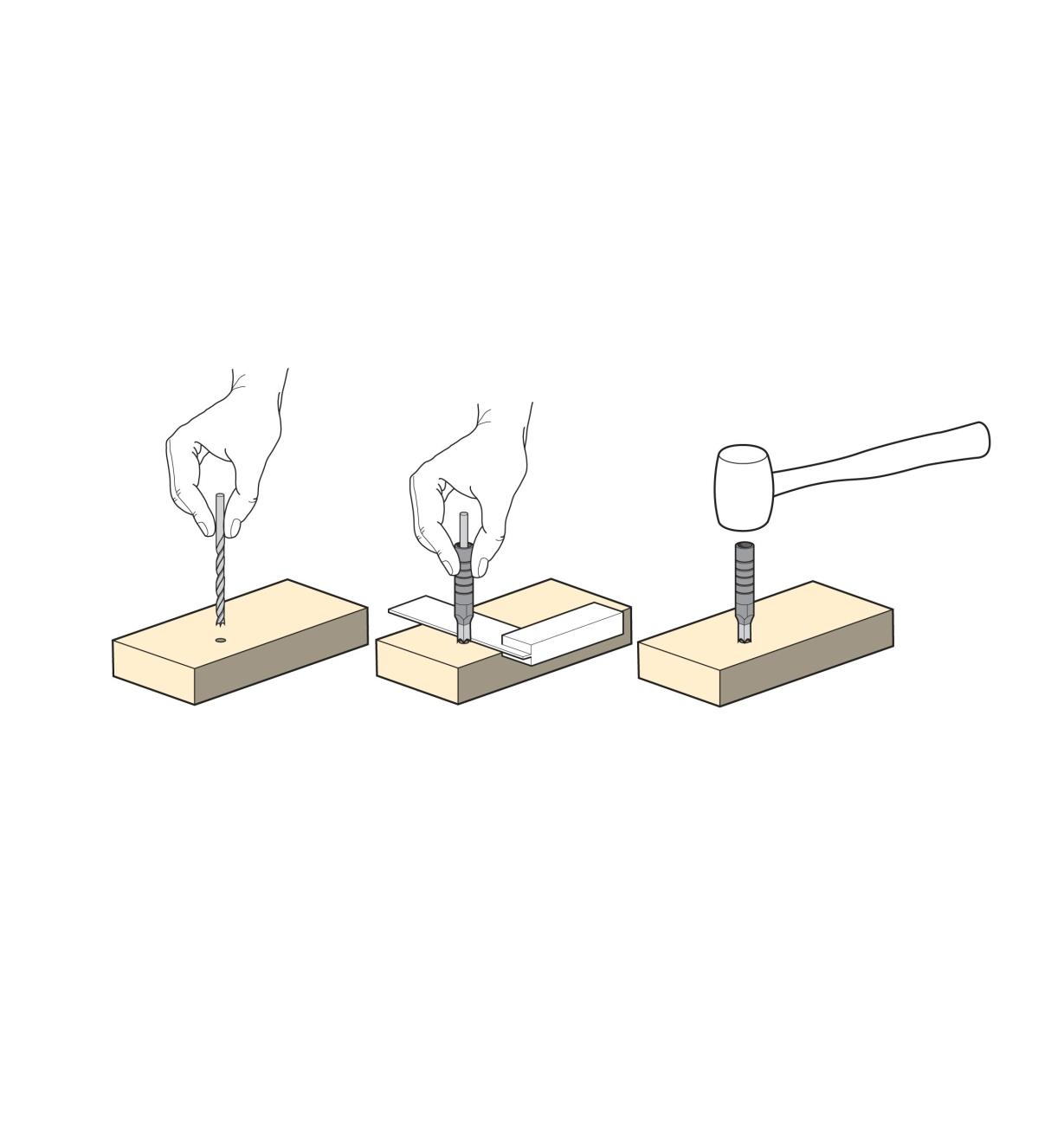 Three illustrations show how to use the square hole punches